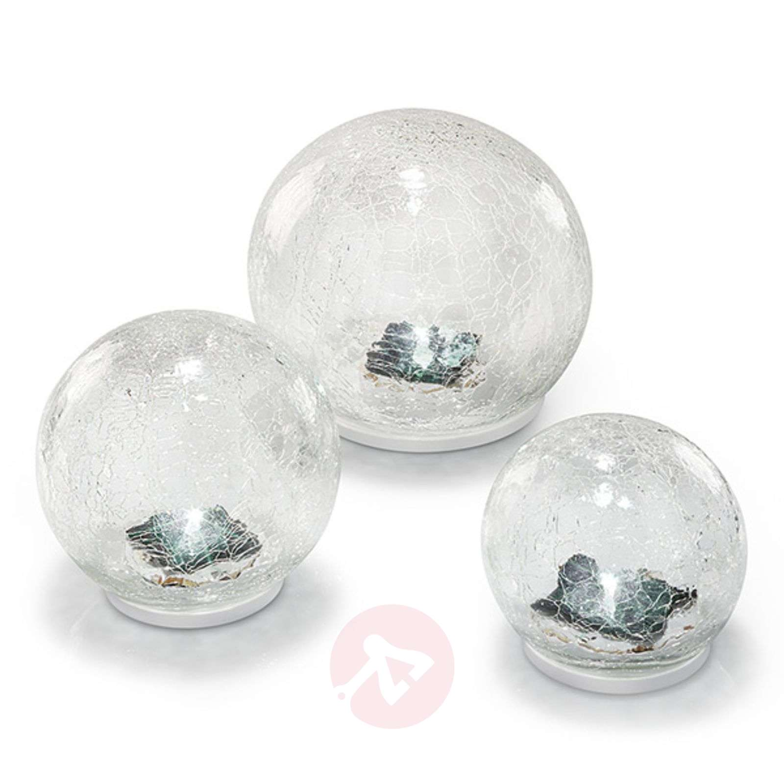 LED solar light set Crackle Ball, set of 3-3012538-01