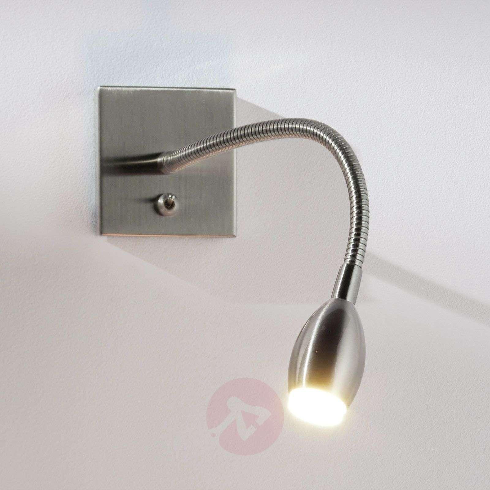 LED wall light PILAR with flex arm, nickel-1050007-02