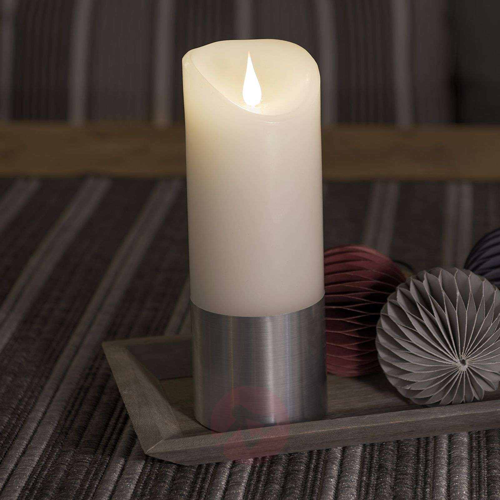 LED wax candle with sleeve in silver-5524852X-01