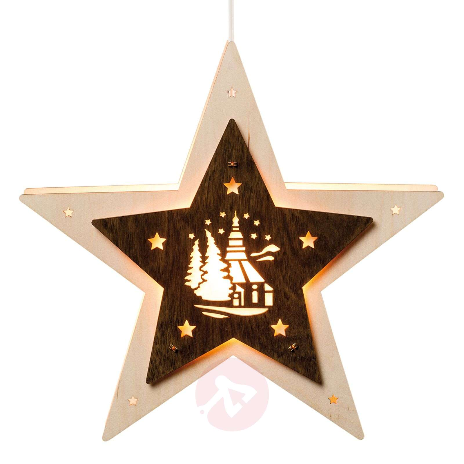LED window star with a Seiffen church motif-8501118-01