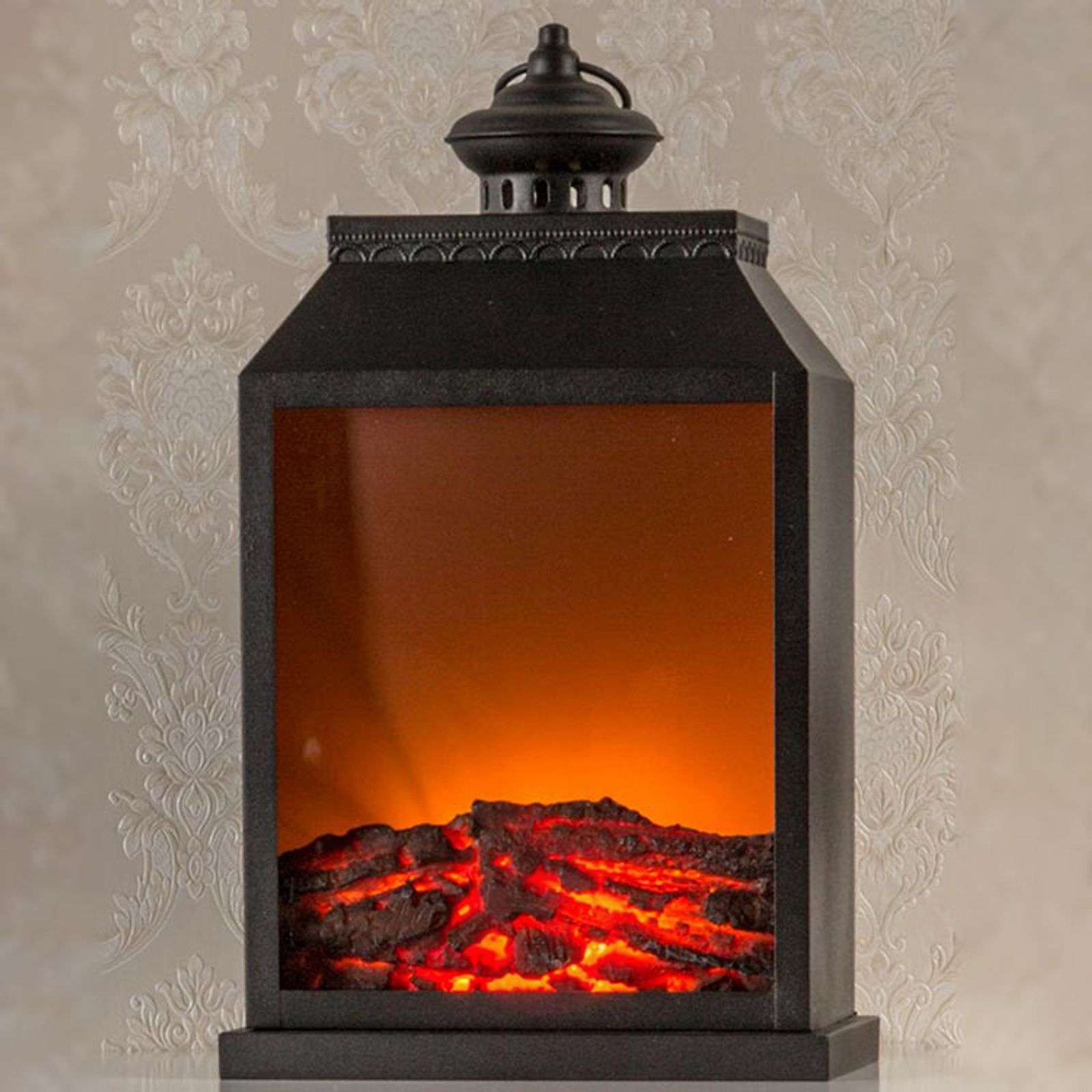 LED wooden lantern with fireplace effect, timer-8501228-01