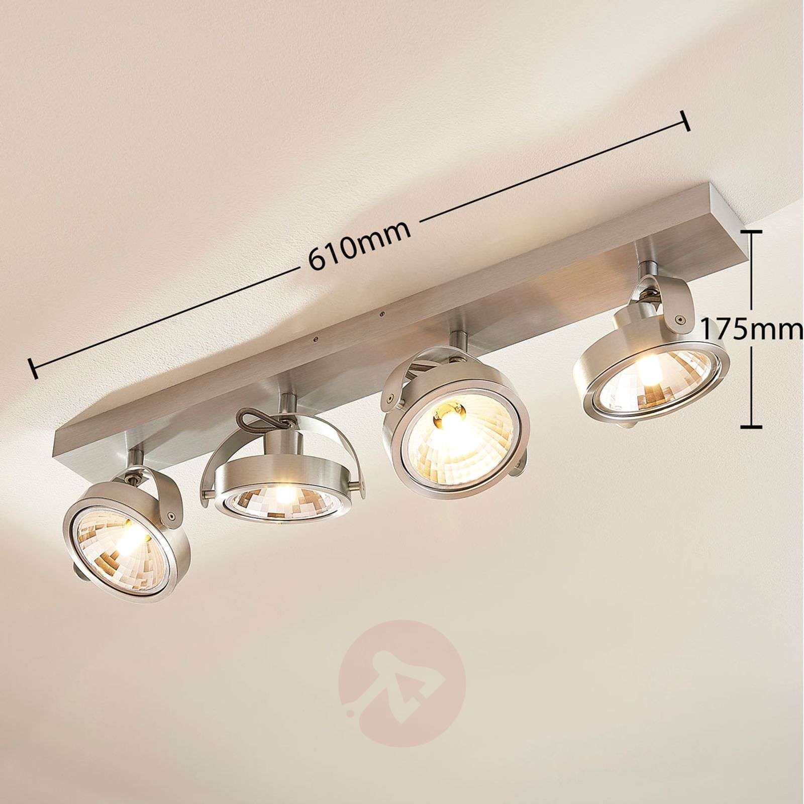 Lieven four-bulb LED ceiling light, aluminium-9621524-01