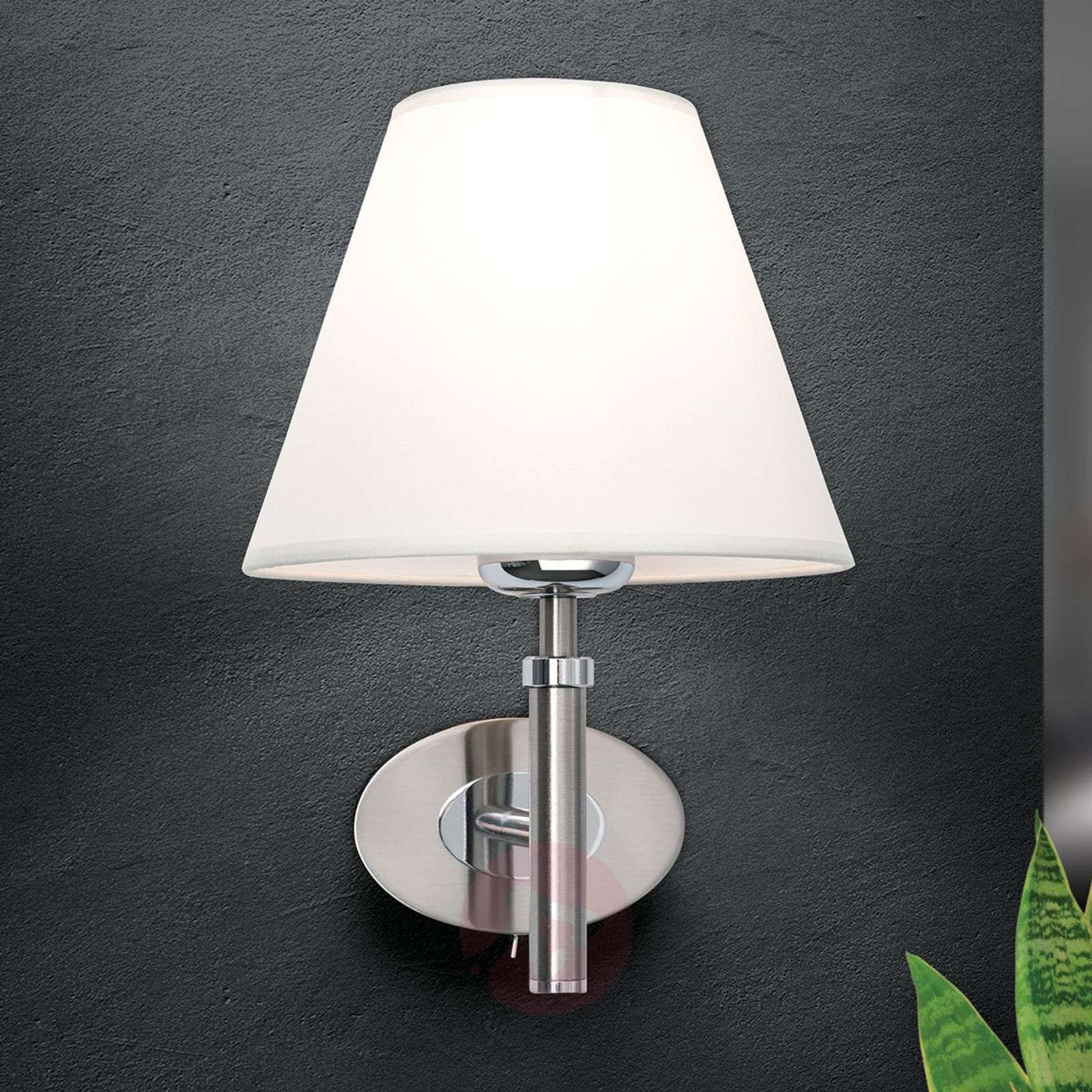 Lilly Nickel Wall Light with Fabric Shade-7254753-03