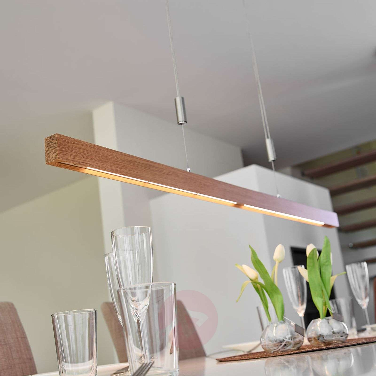 Linear oak LED pendant lamp Nora - dimmable   Lights.ie