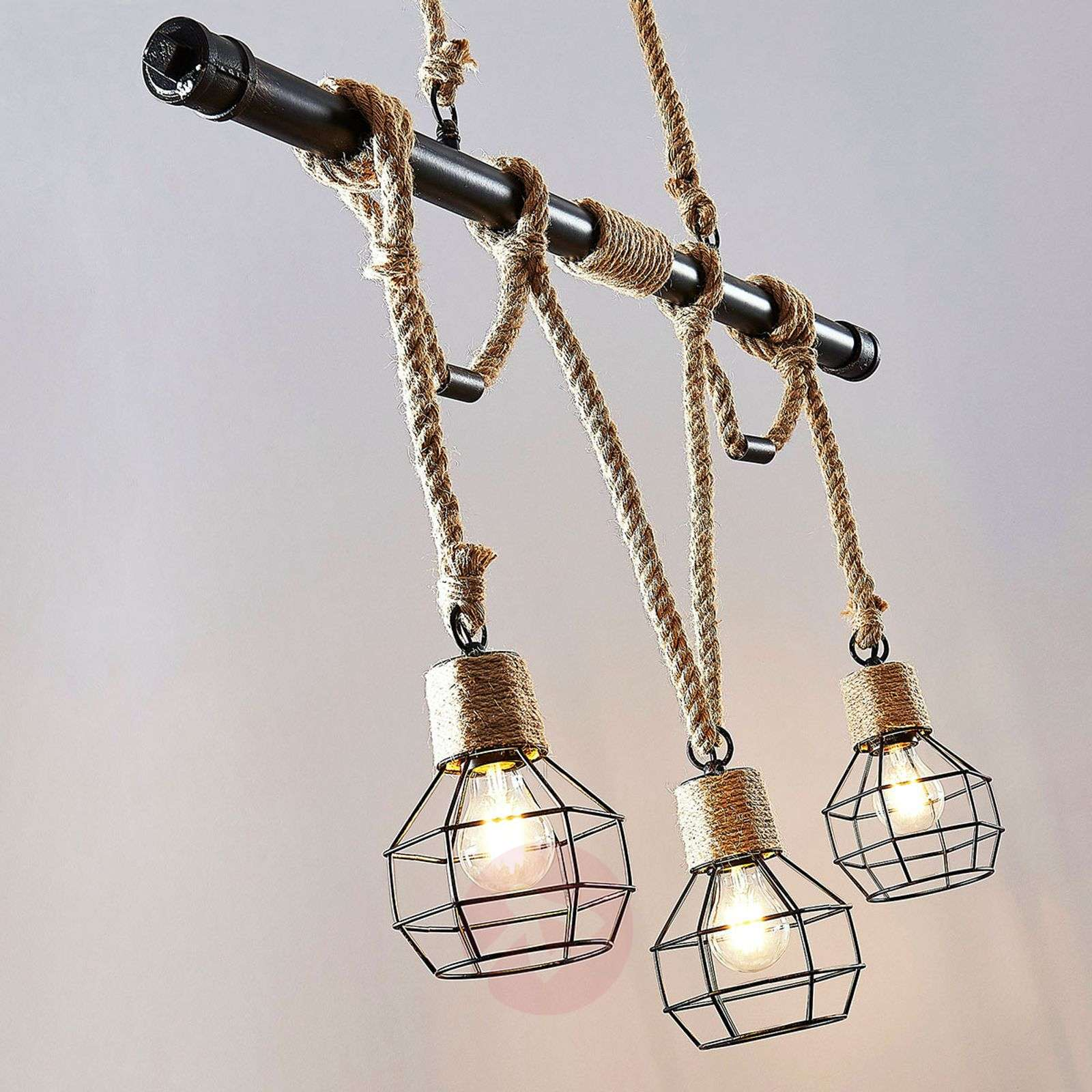 Linear pendant light Ventura, vintage look, 3-bulb-9624178-01