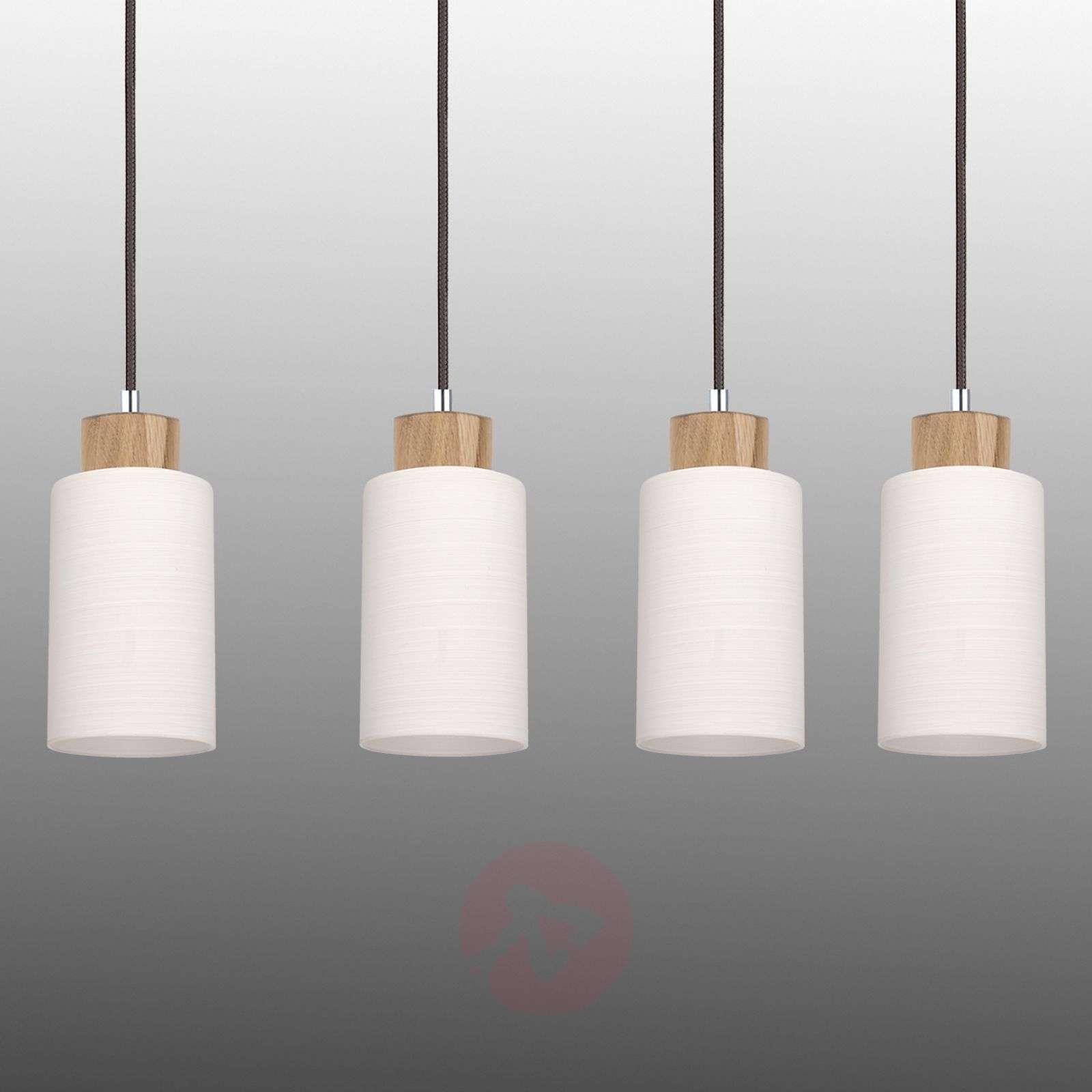Long Bosco pendant lamp, oiled oak, 4-bulb-8574281-01