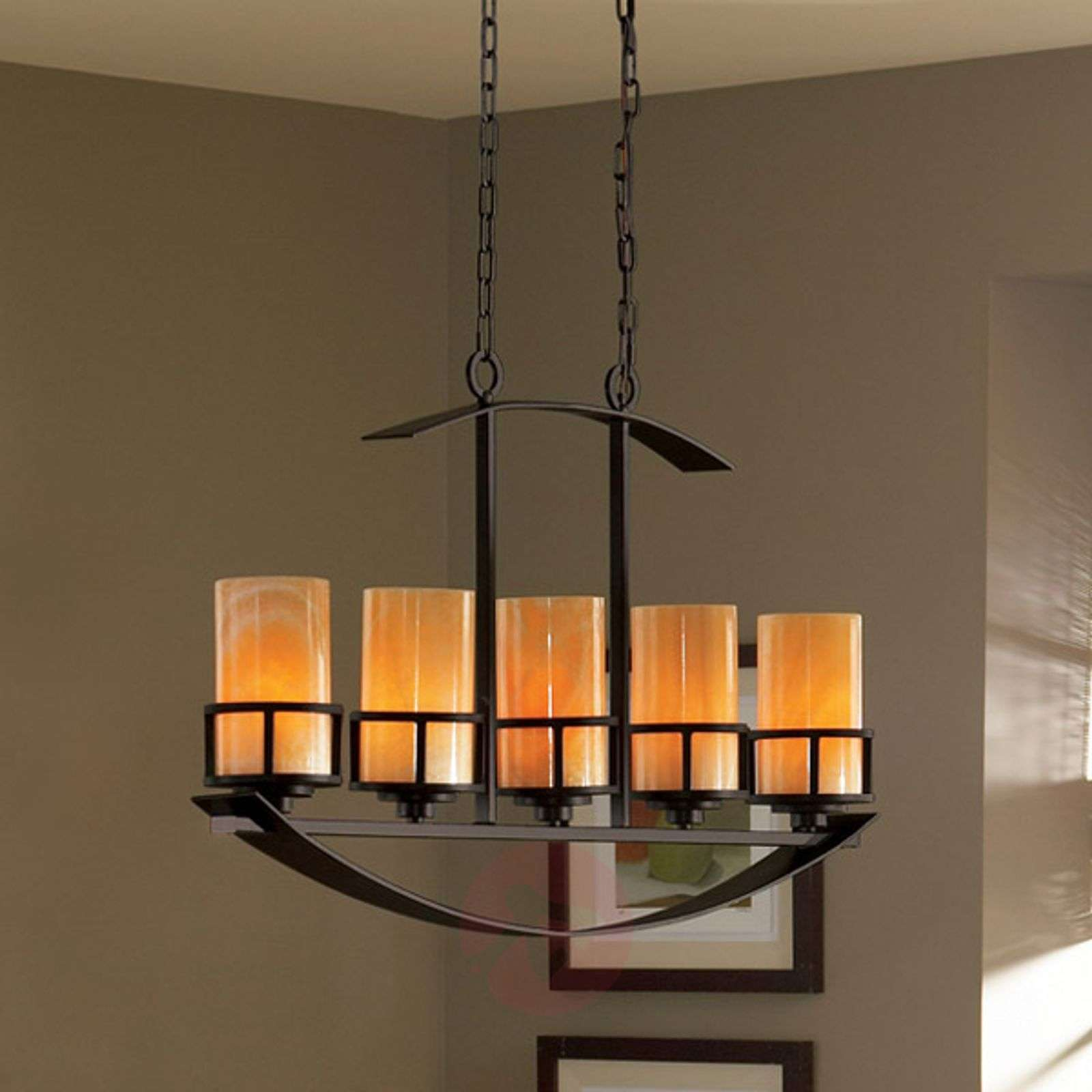 Long pendant light Kyle with 5 onyx lampshades