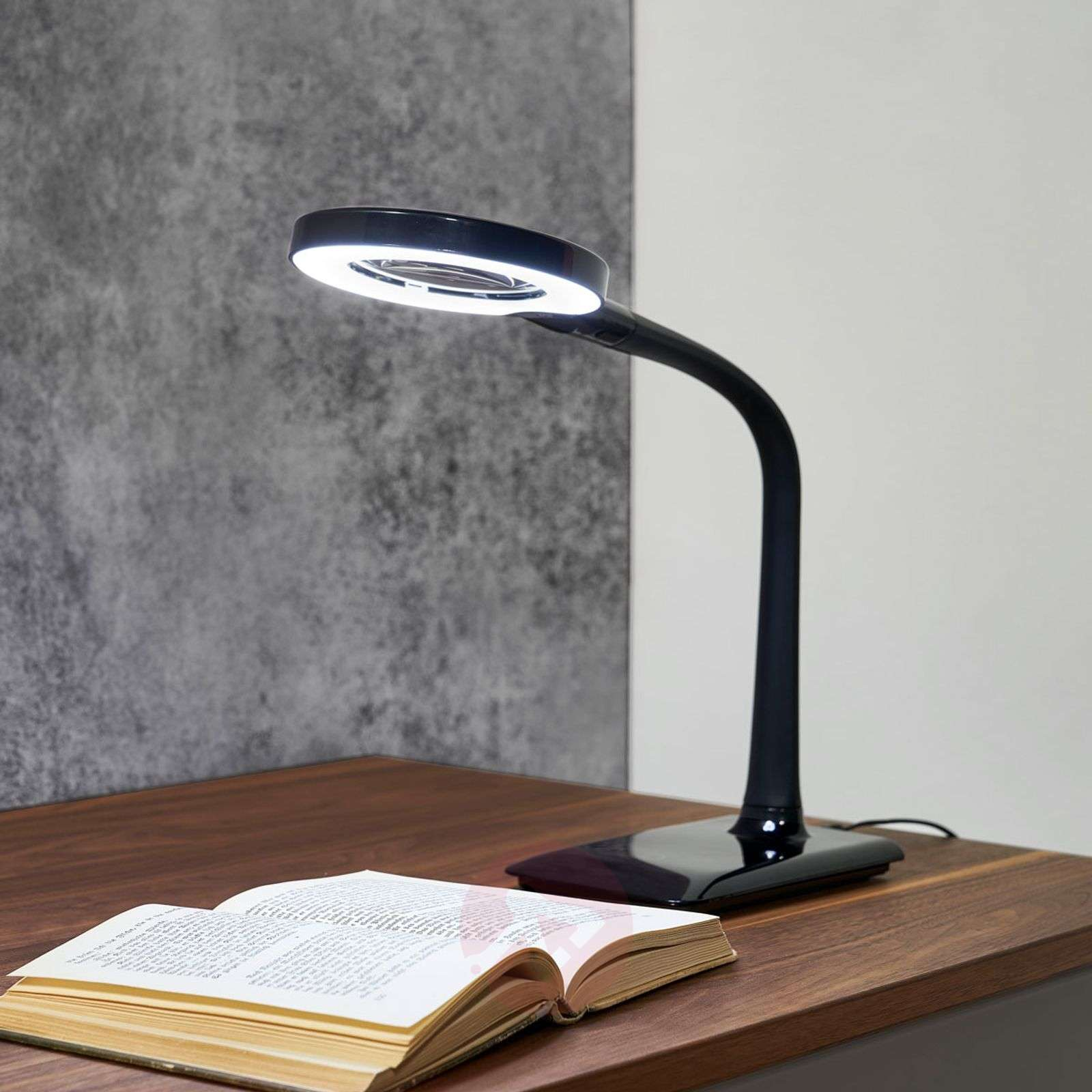 Lupo LED magnifying lamp in black-9005198-01