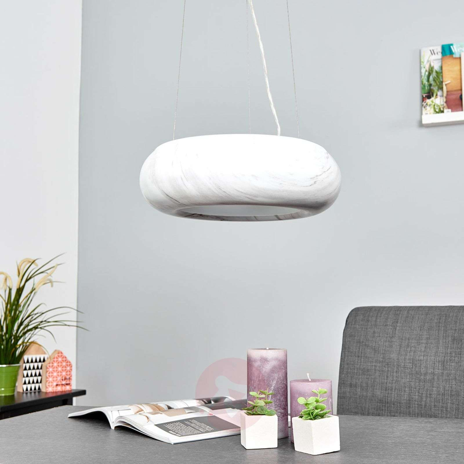 Marbled LED pendant lamp Saina-9639020-01