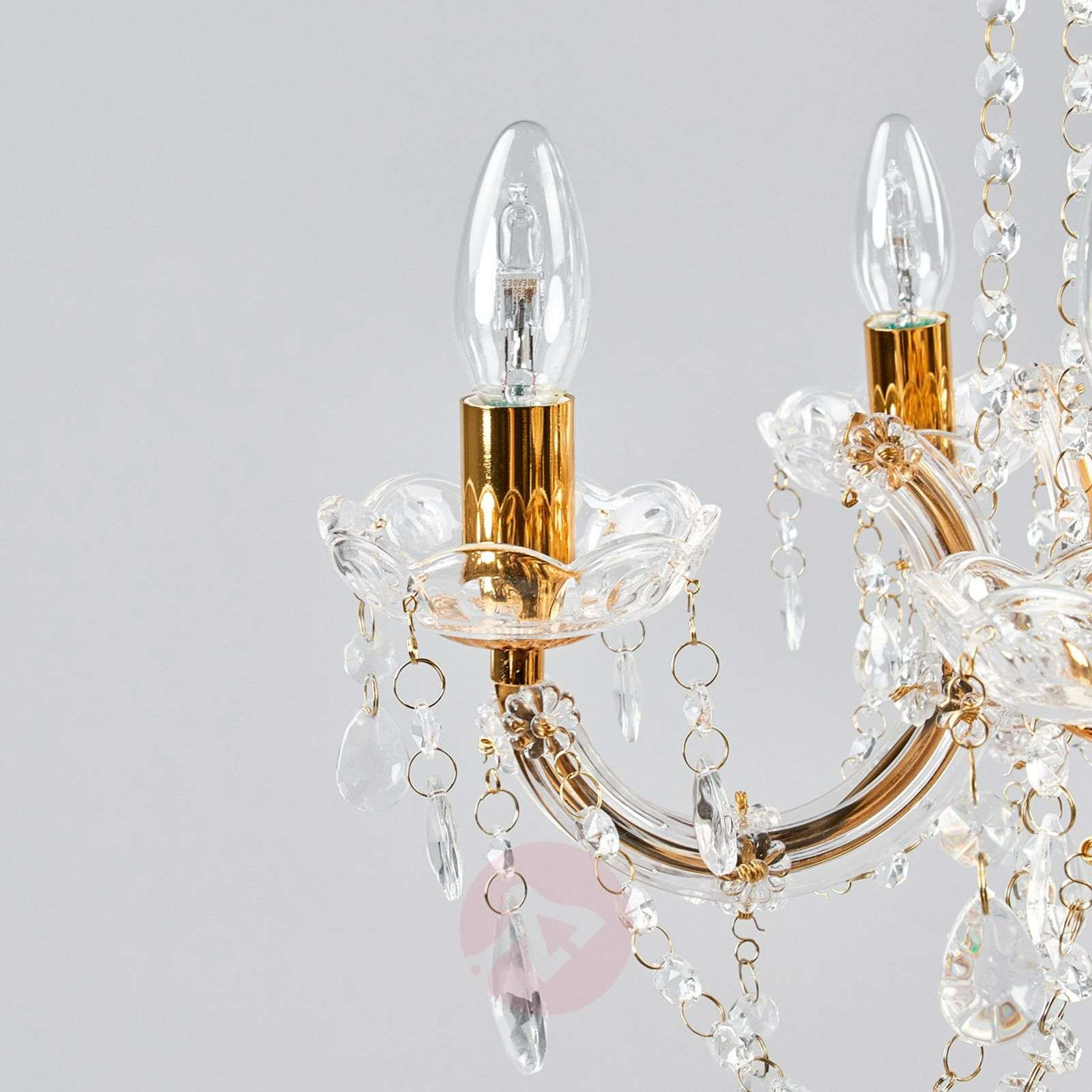 Marie Therese chandelier, brass, five-bulb-8570160-04