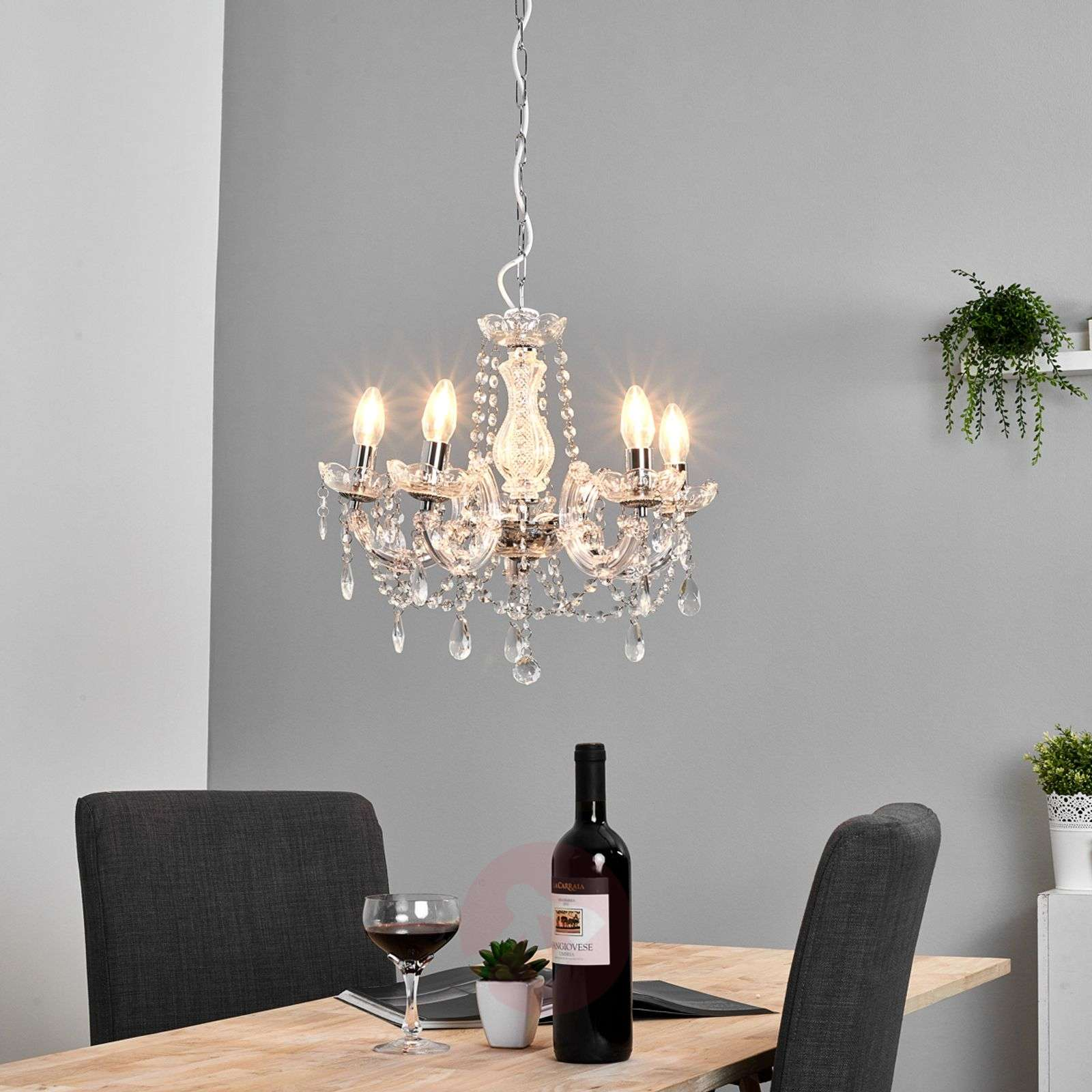 Marie Therese classic chandelier with five bulbs-8570158-04