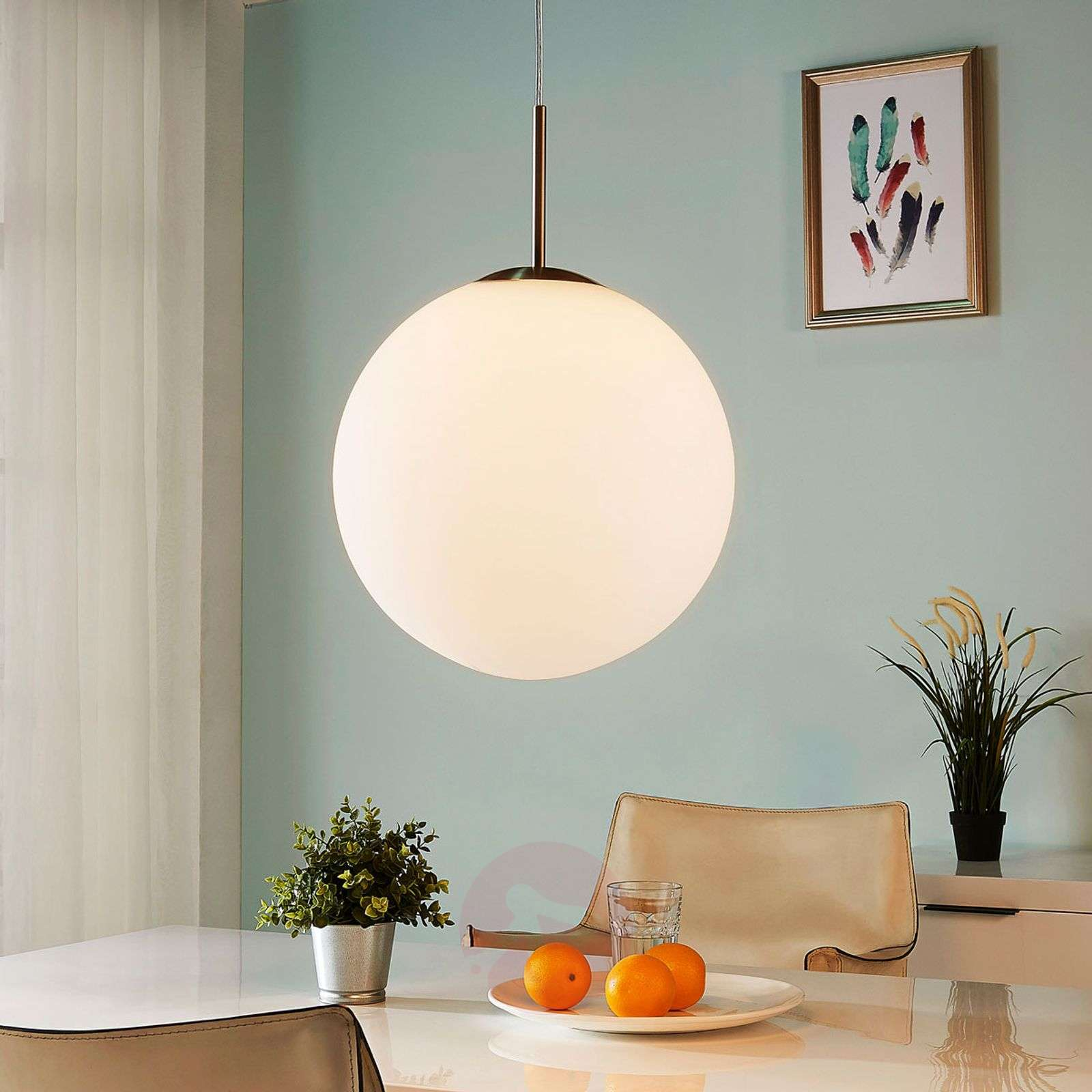 Marike spherical hanging light, white opal glass-9621454-01