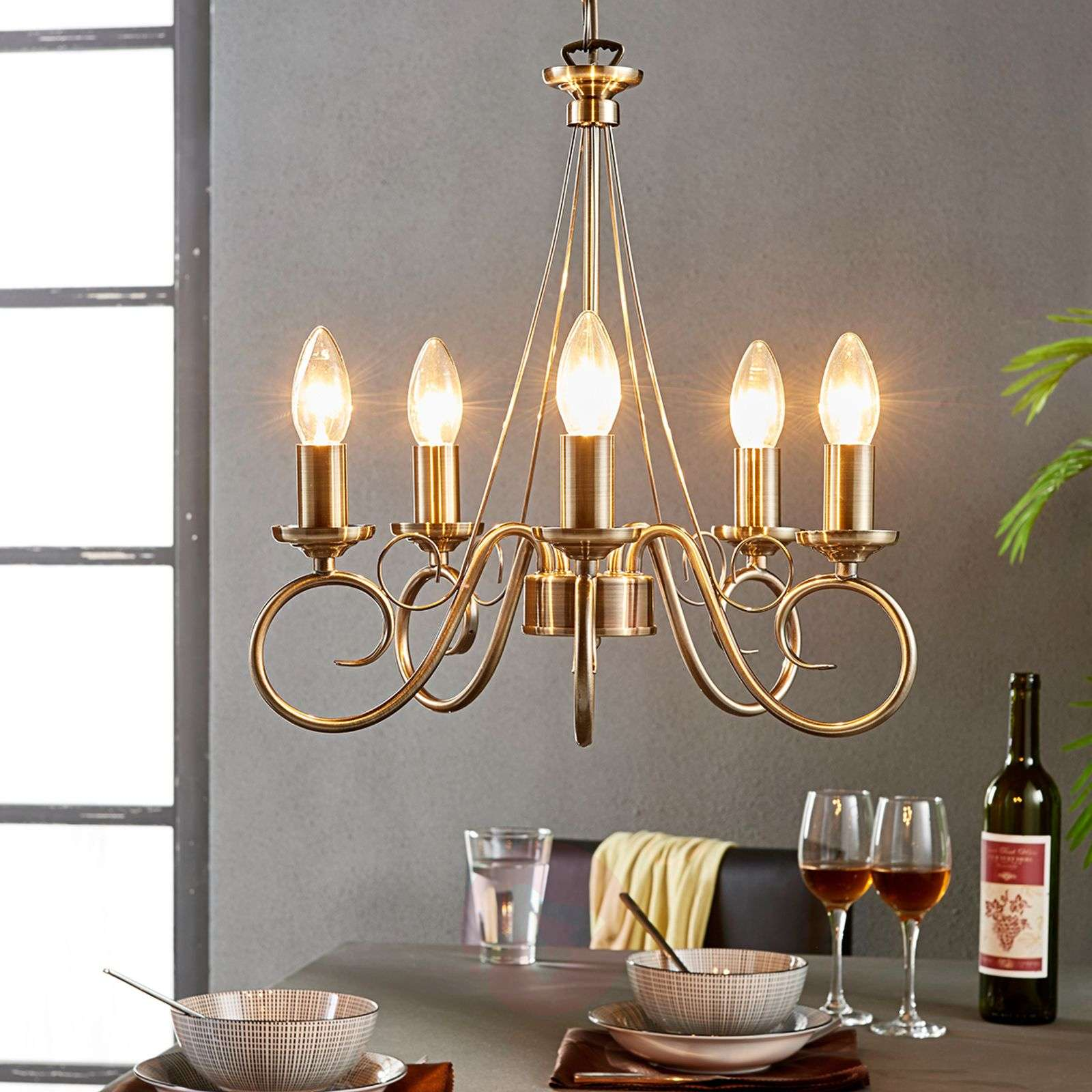 Marnia chandelier in antique brass, 5-bulb-9621015-03