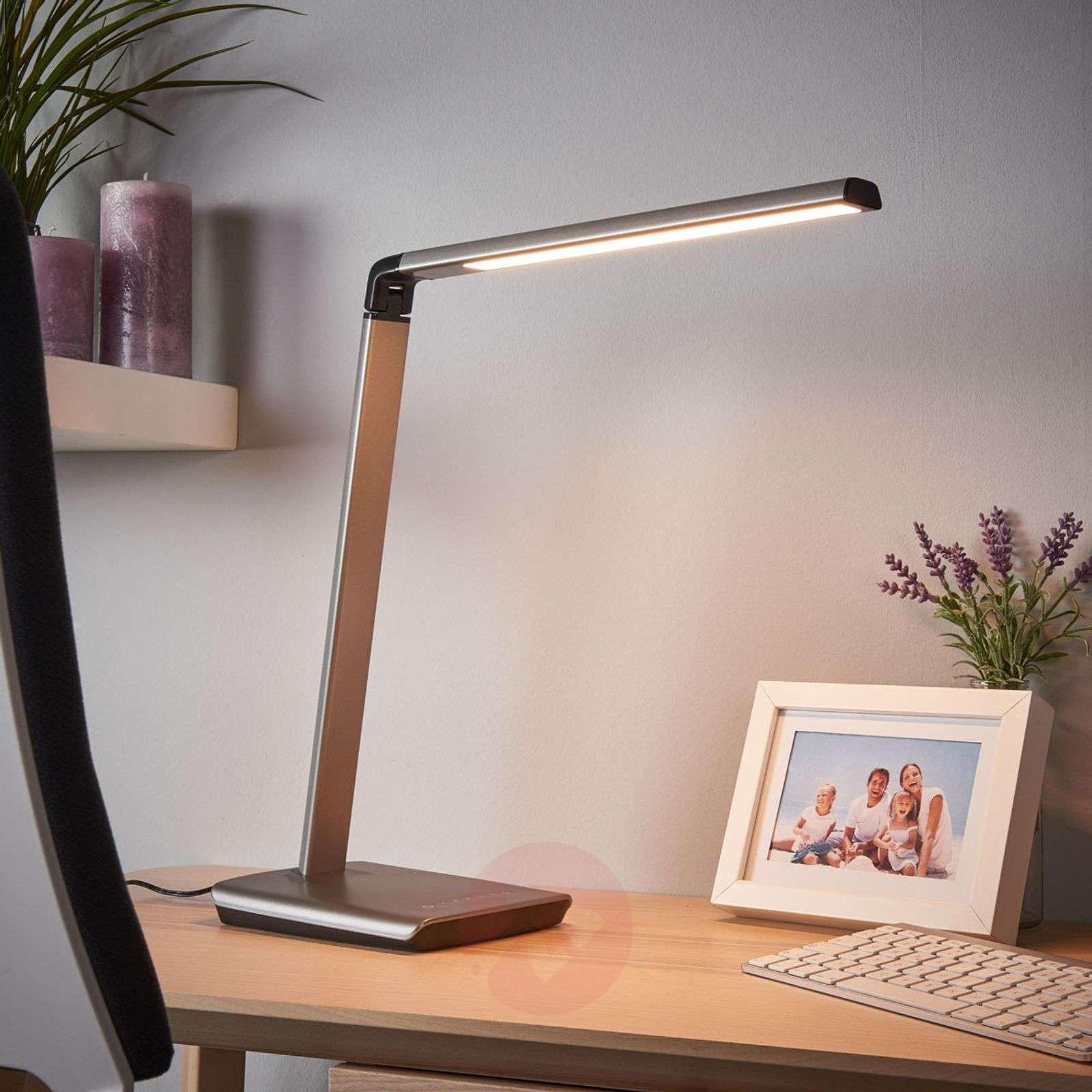Metallic grey LED table lamp Kuno with dimmer, USB-9643036-02