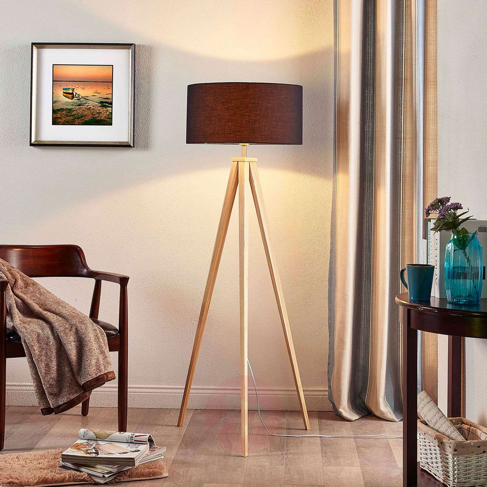 Mya wooden floor lamp with black fabric lampshade-9621330-01