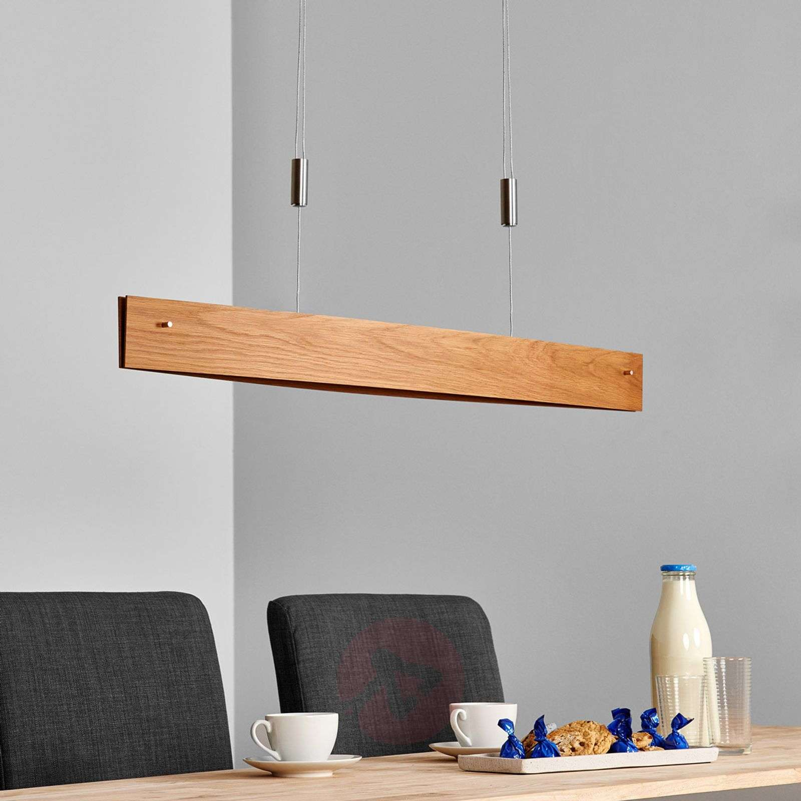 Natural oak LED pendant light Malu, made of wood-6722284-01