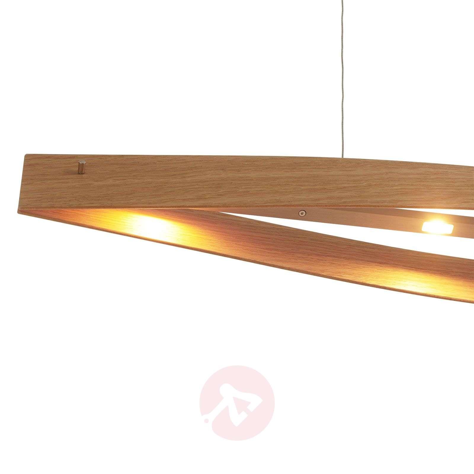 Natural oak LED pendant light Malu, made of wood-6722284-01