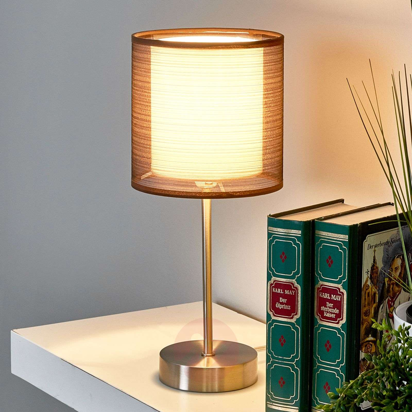 Nica bedside table lamp with brown fabric shade-4018012-02