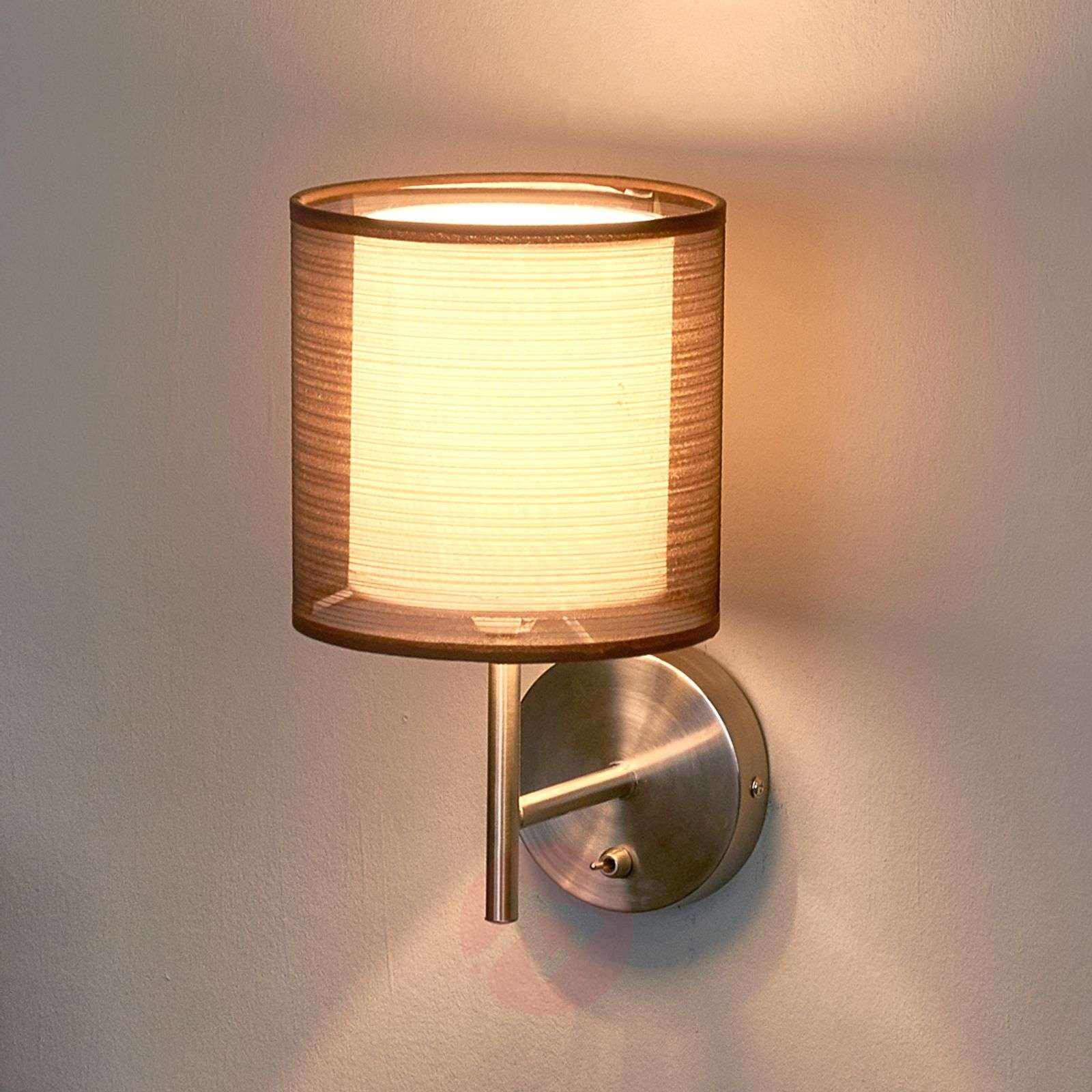 Nica wall lamp with fabric shade in brown-4018016-02