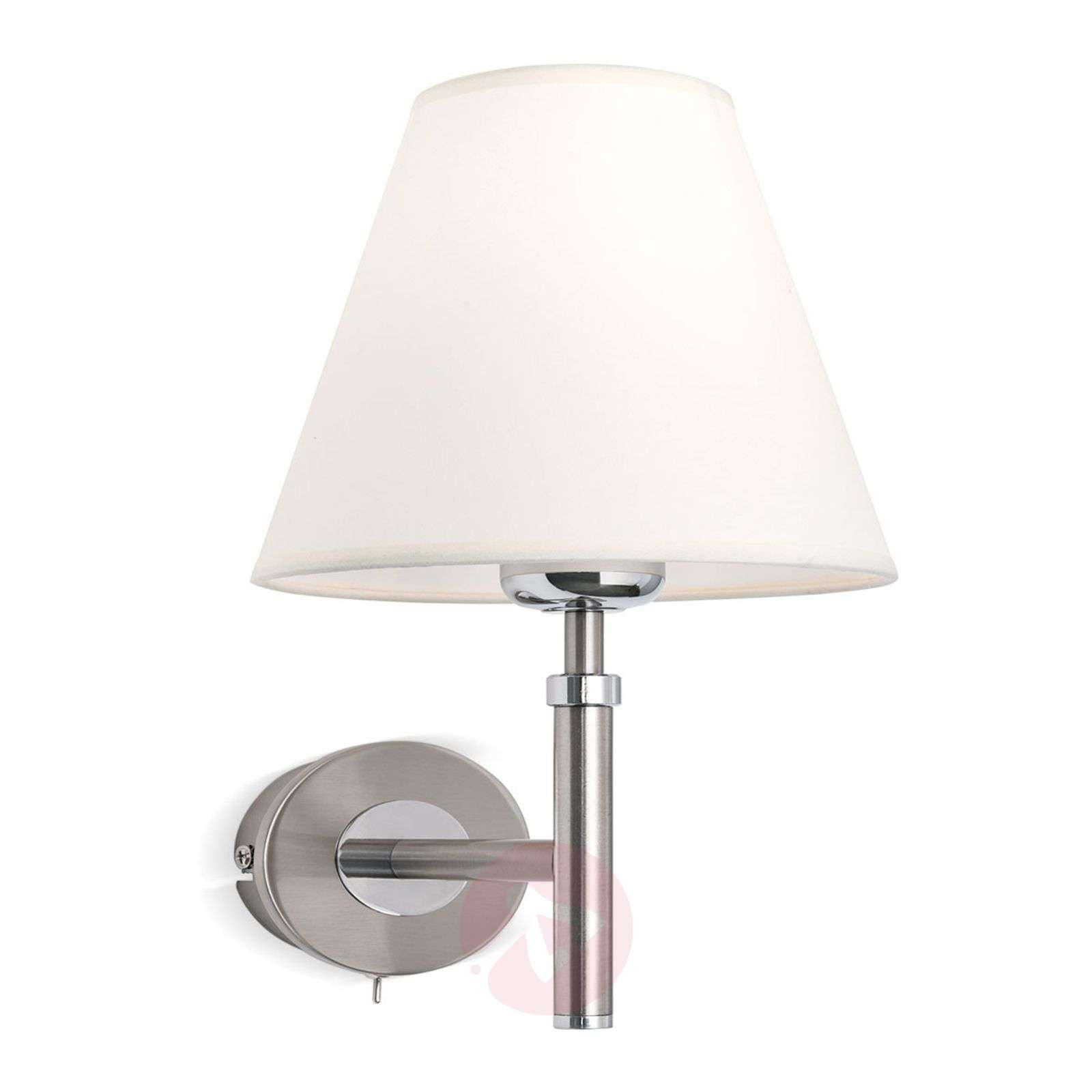Nickel wall light Lilly with a fabric lampshade-7254753-03