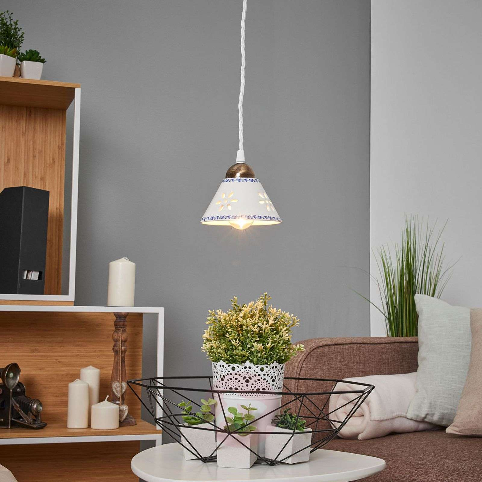 NONNA hanging light, made of white ceramic-2013026-01