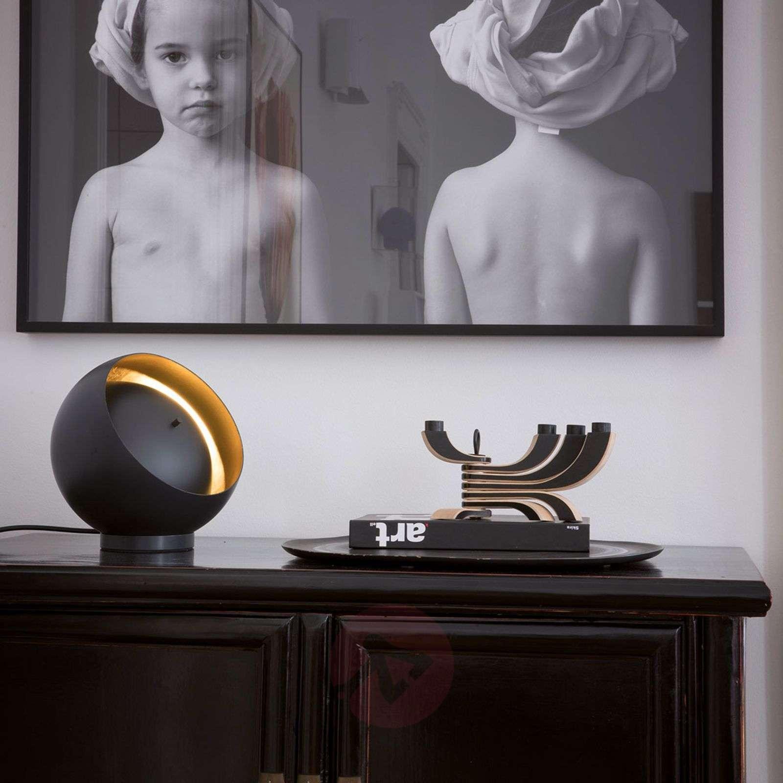 Oluce Eva spherical LED table lamp, black-7265127-01