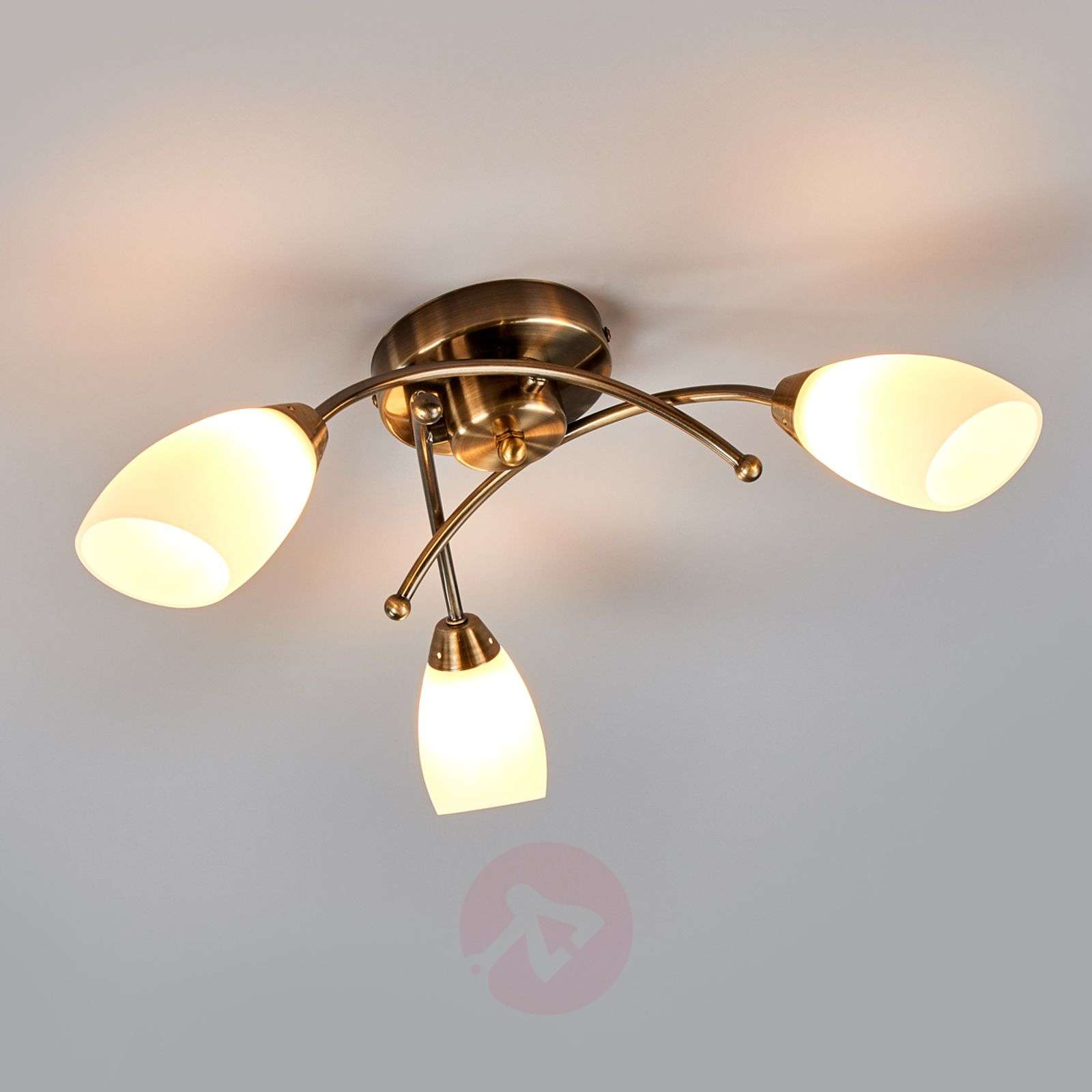 3 Bulb Ceiling Light: Opera 3-bulb Ceiling Light, Antique Brass