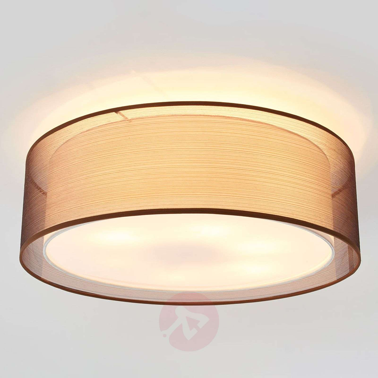 Ophelia ceiling light made of fabric, brown-4018129-02