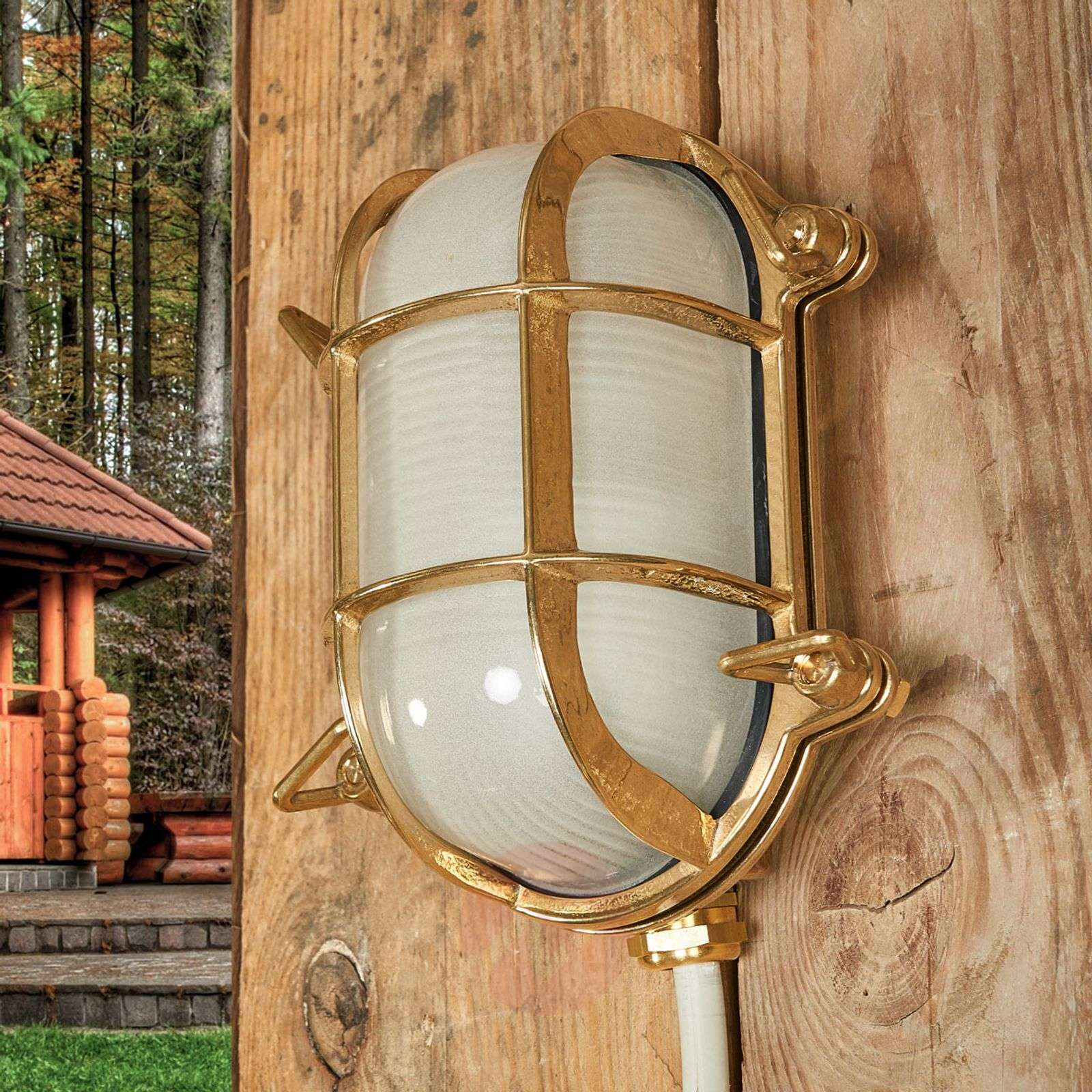 Oval outdoor wall light Bengt brass-6515264-01