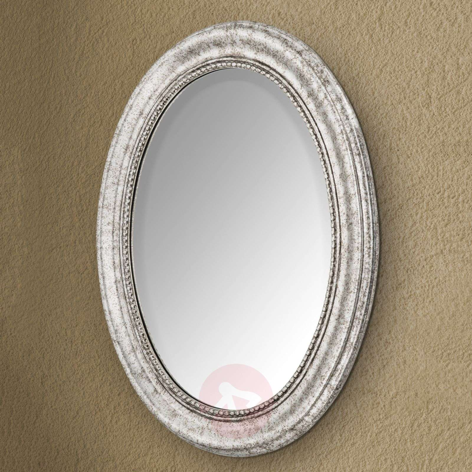 Oval Wall Mirror Willa With Silver Wooden Frame Lights Ie