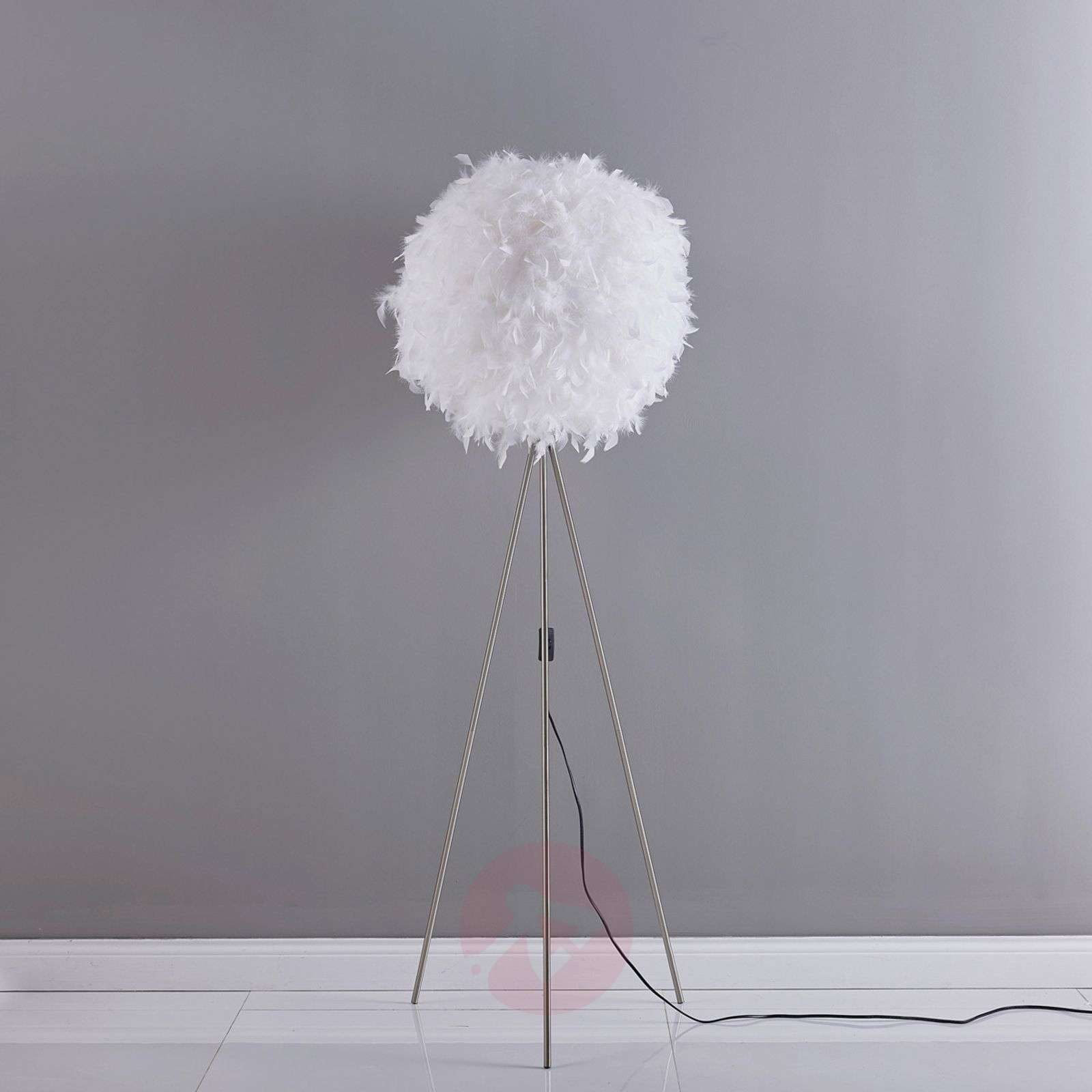 Pauline tripod floor lamp with feather décor-9620975-02