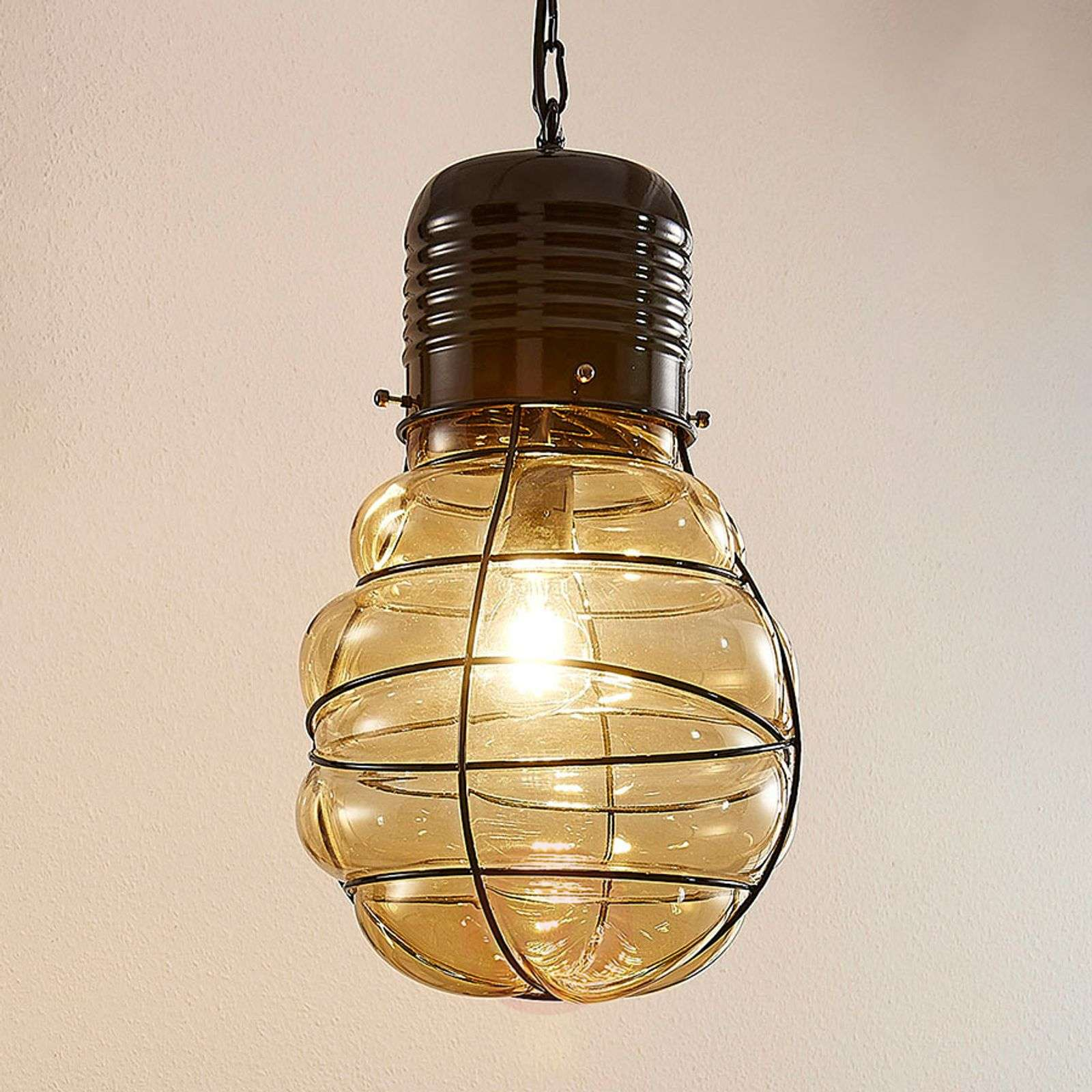 Pendant lamp maluka amber coloured glass