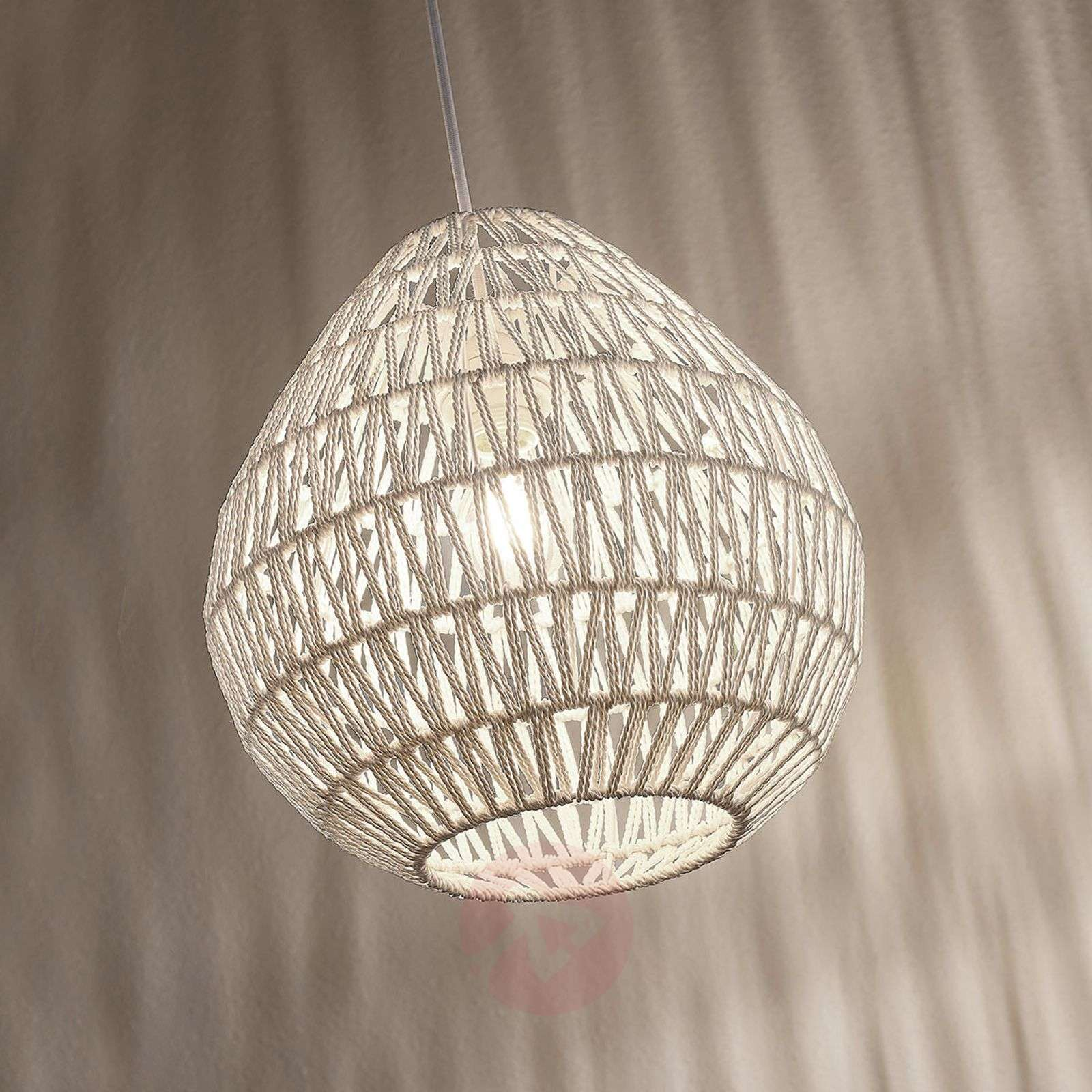 Pendant light Danya made of white woven paper 33cm-9624289-02