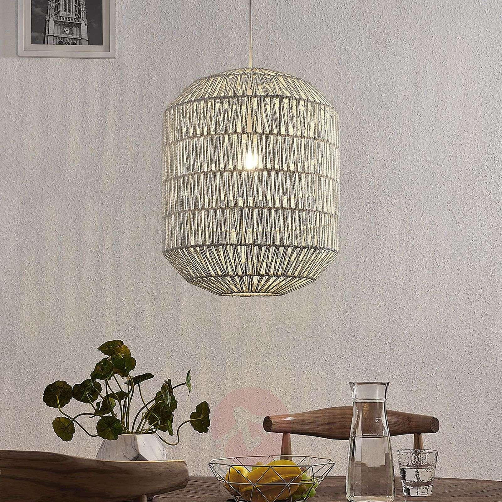 Pendant light Danya made of white woven paper 48cm-9624290-02