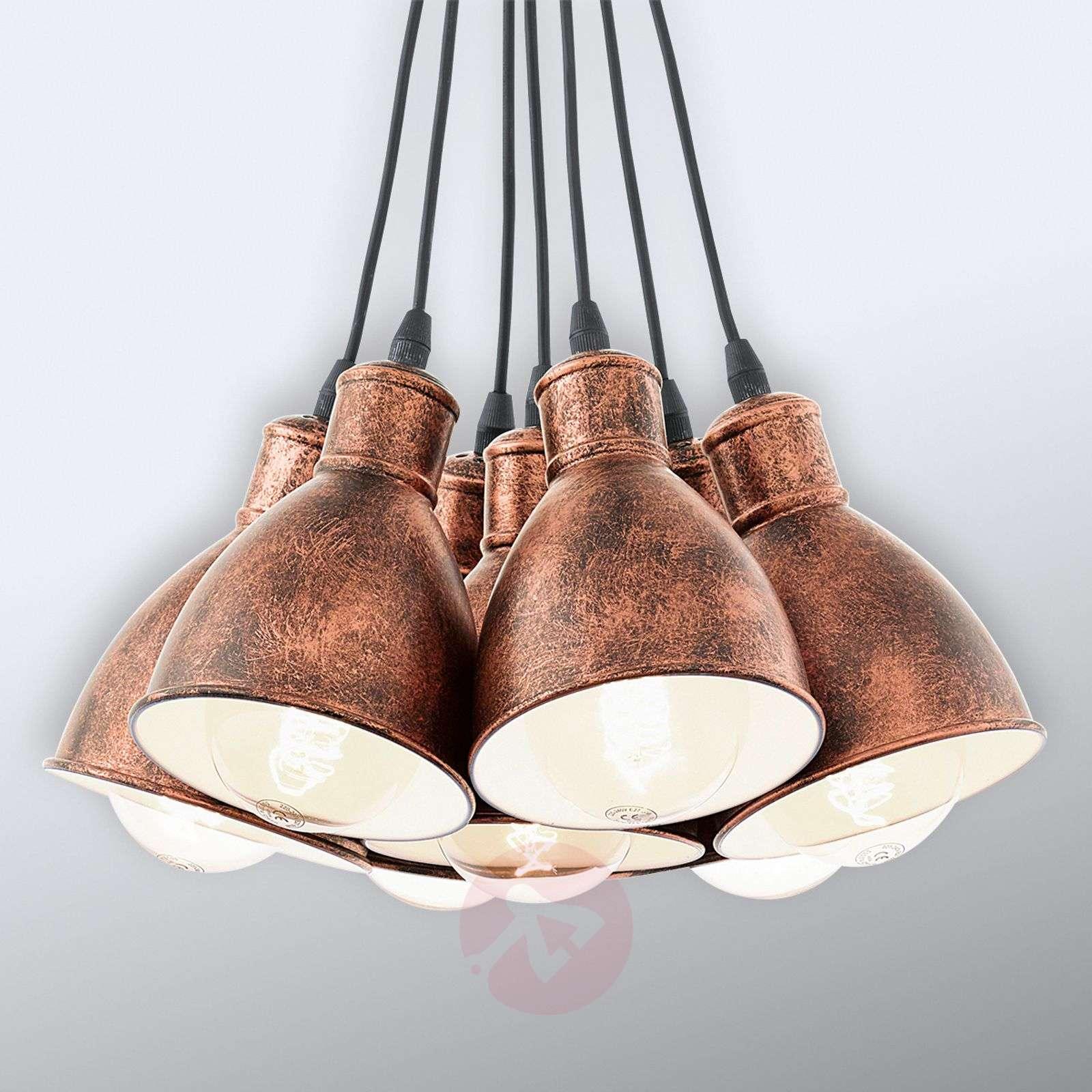 Pendant light Priddy 1, seven-bulb, antique copper-3031785-01