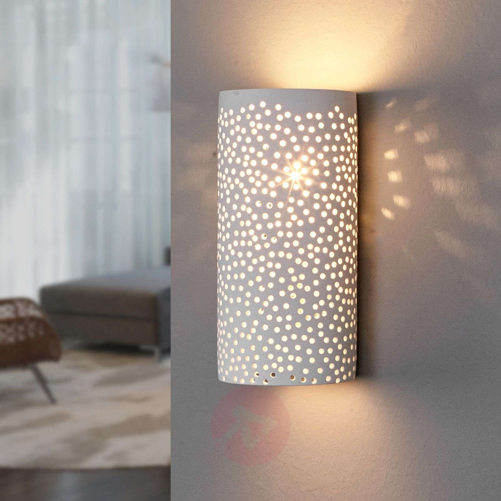 Perforated wall light Jiru made of white plaster-9613051-02