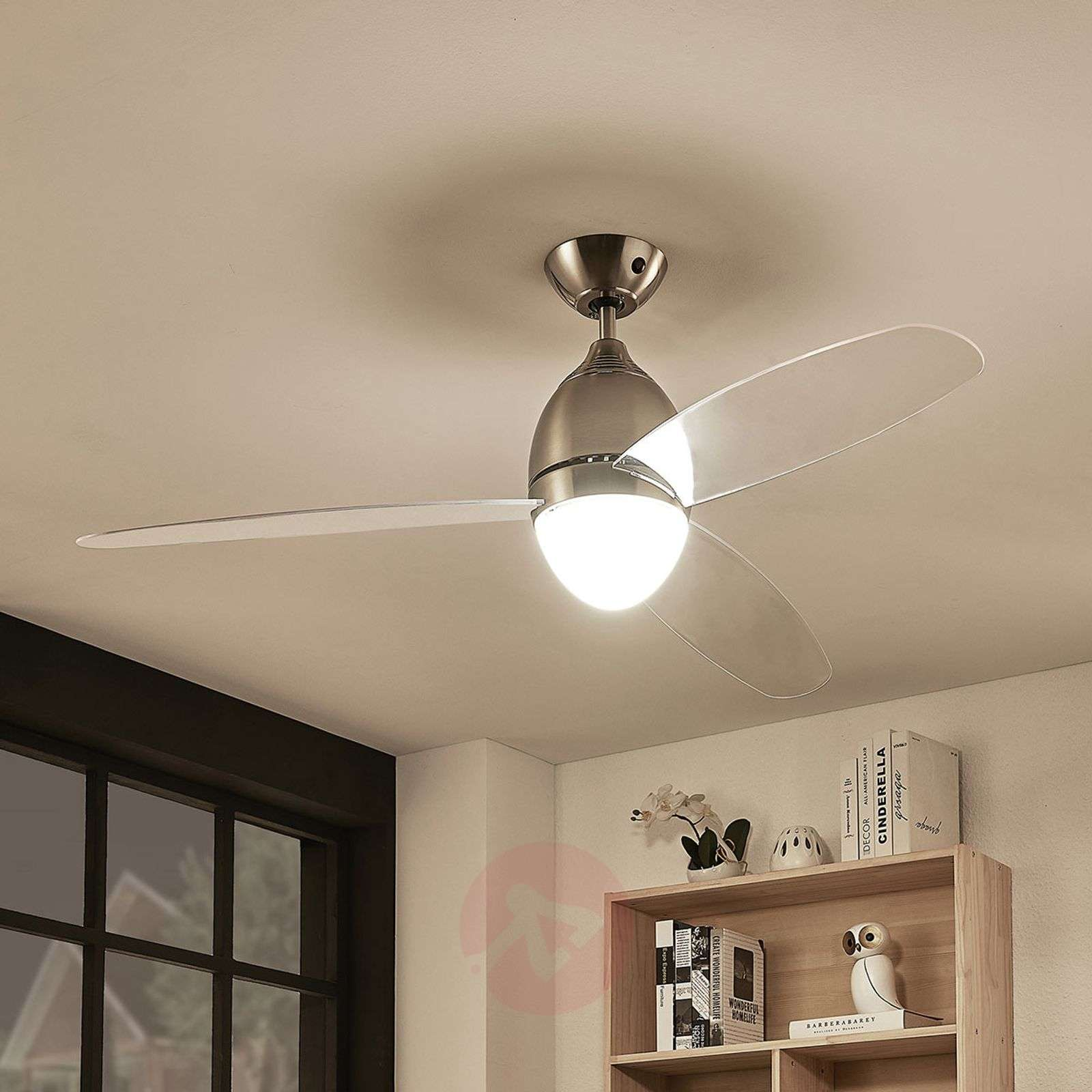 Piara ceiling fan with light, clear-4018210-03