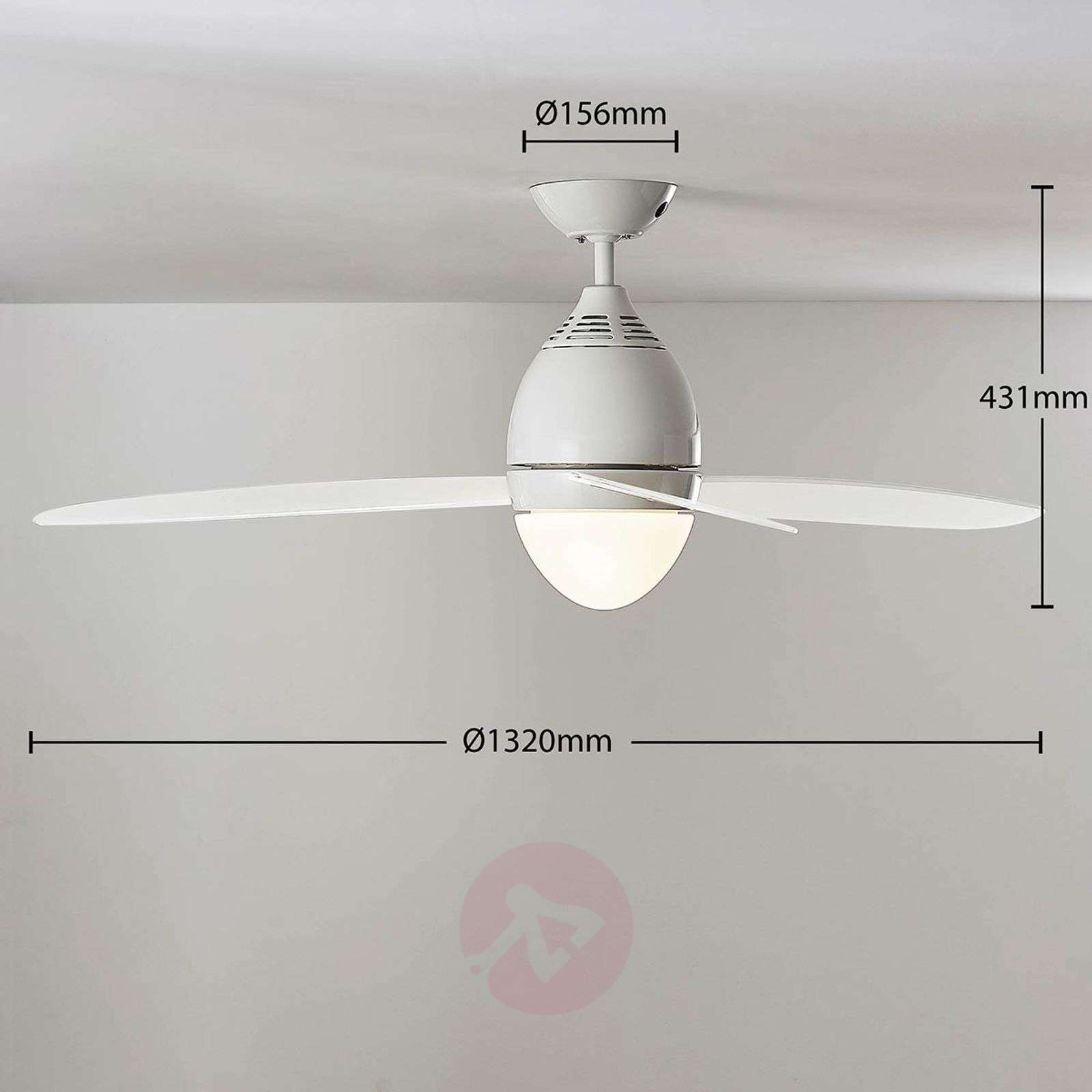 Piara ceiling fan with light, glossy white-4018206-03