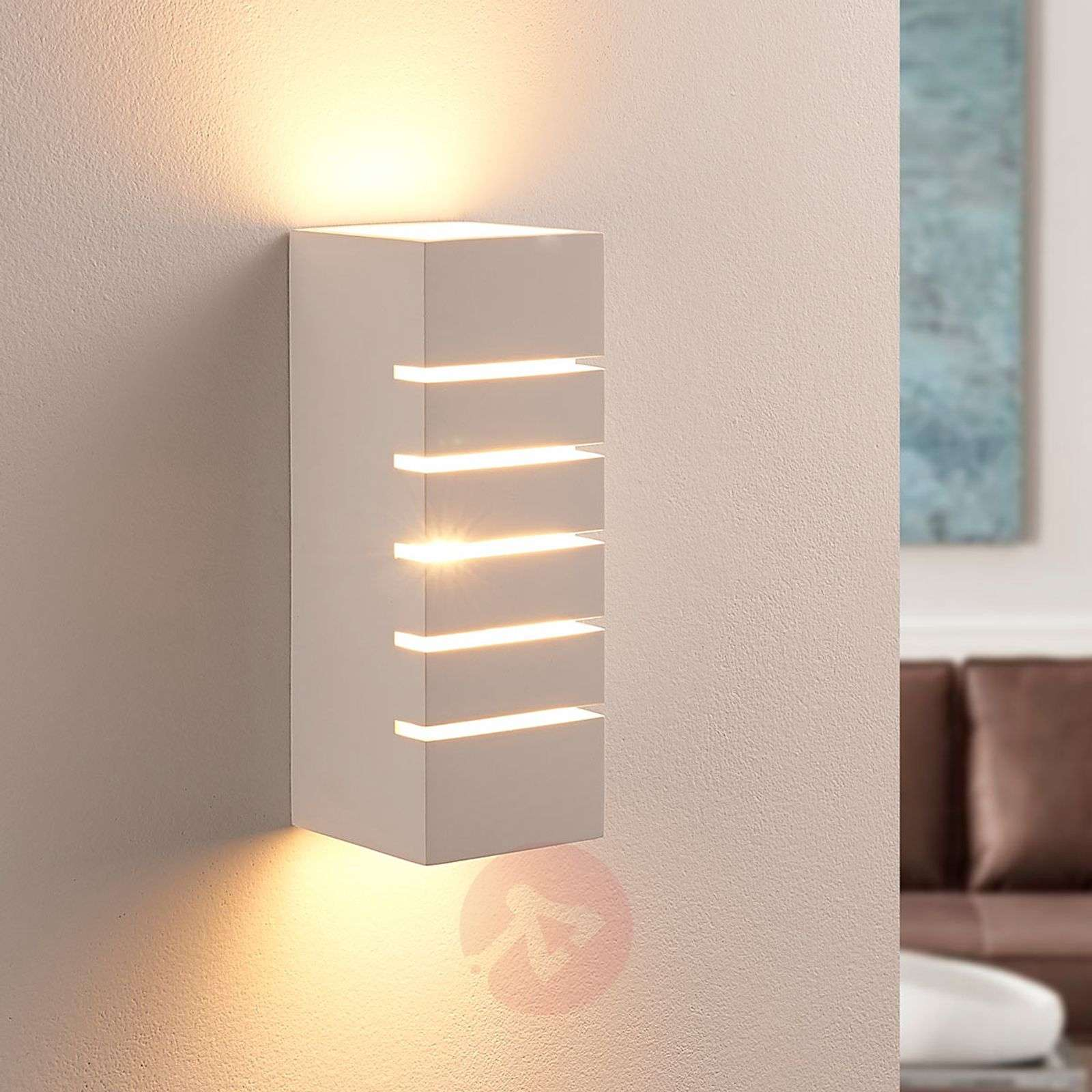 Plaster wall light Laslo with stripes, G9 LED-9621343-02