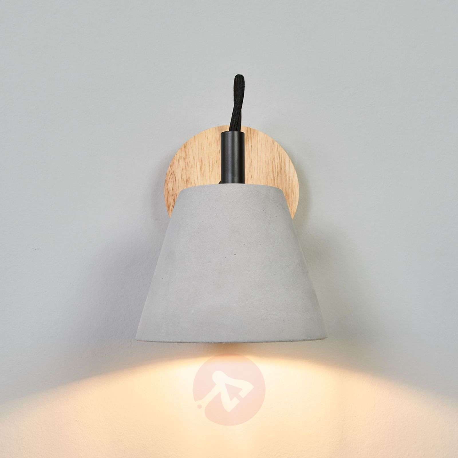 Possio wall light w. concrete lampshade and wood-6055259-01