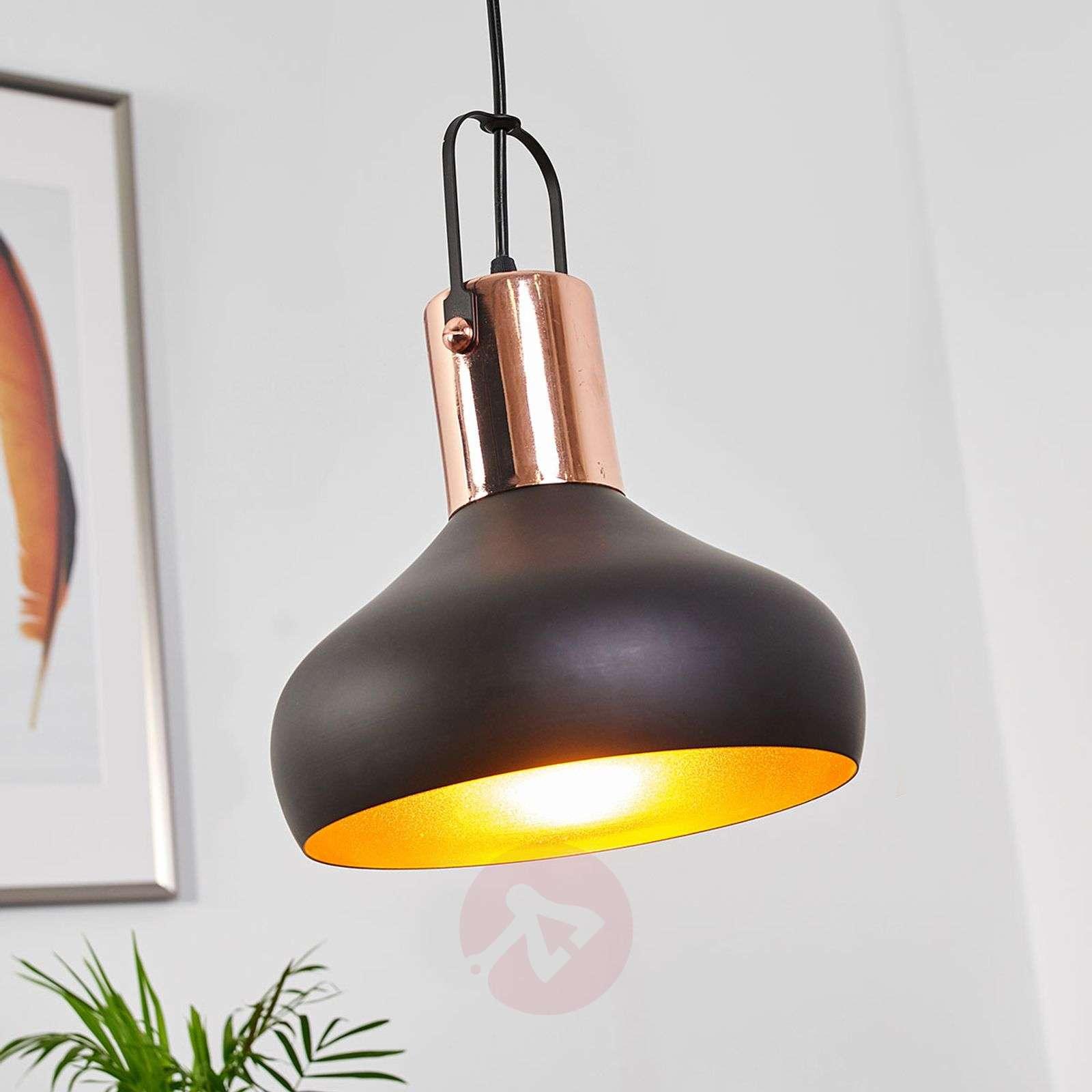 Pretty hanging lamp Batu, black and gold-9634063-02