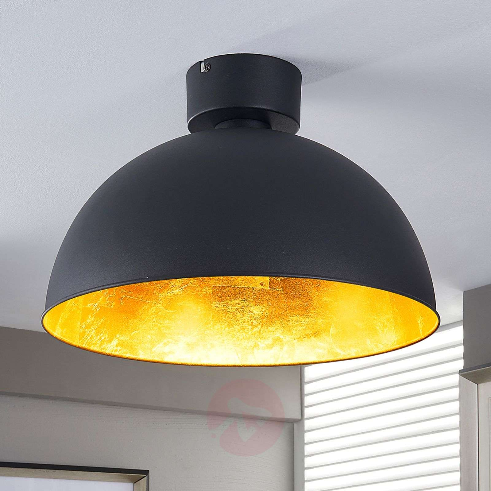 Pretty LED ceiling light in black and gold-9620833-02