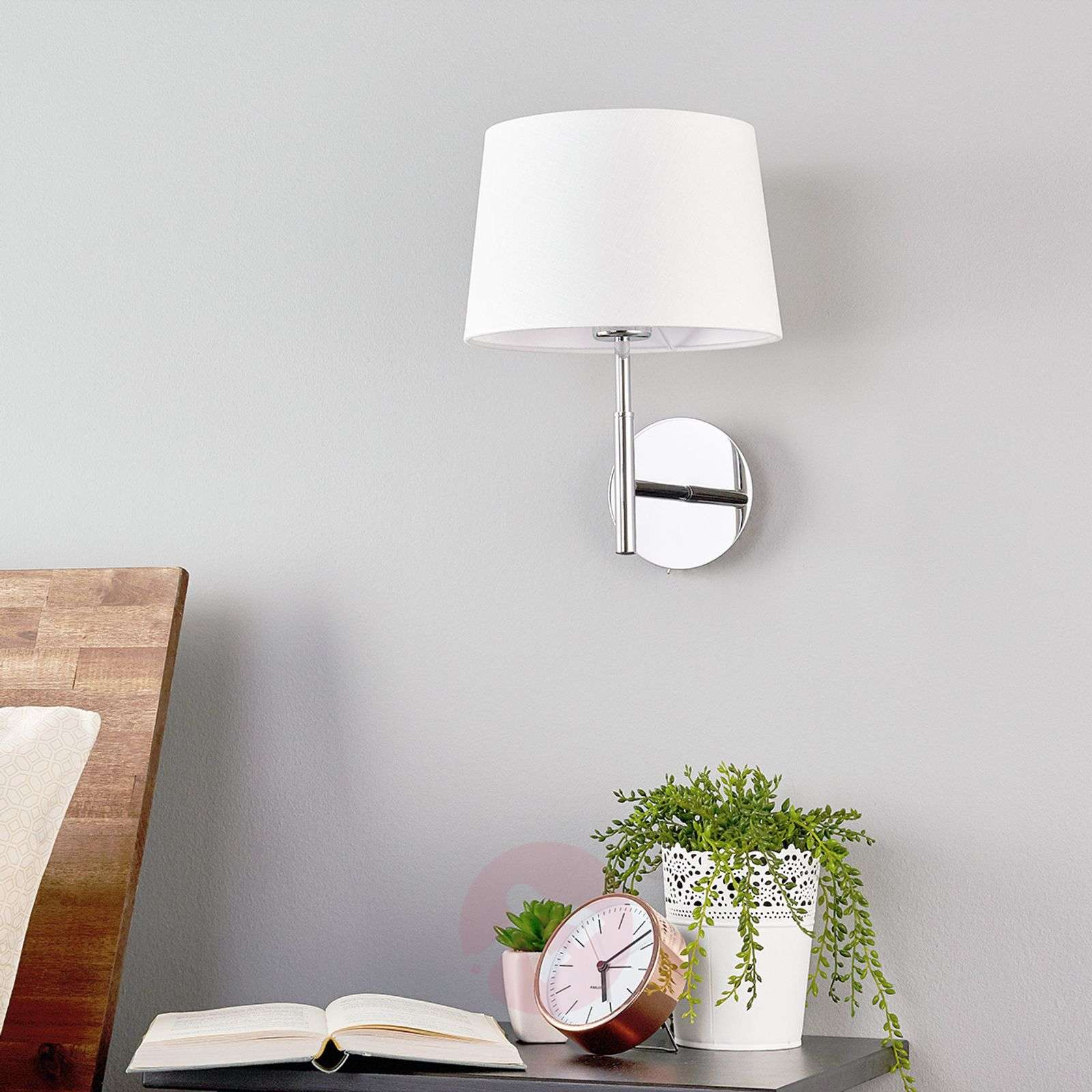 Pretty wall lamp Dorothea with white fabric shade-9976014-01