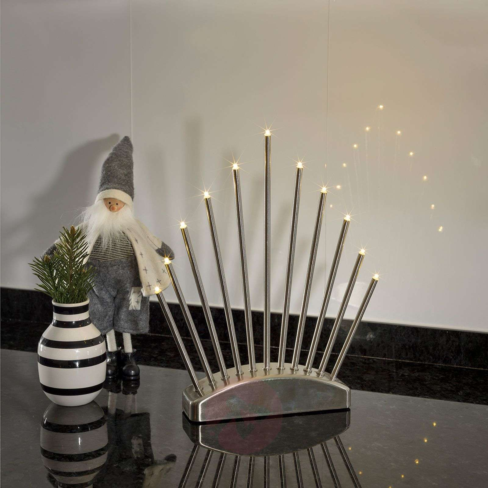 Puristic LED candleholder Menja, brushed-5524494-01