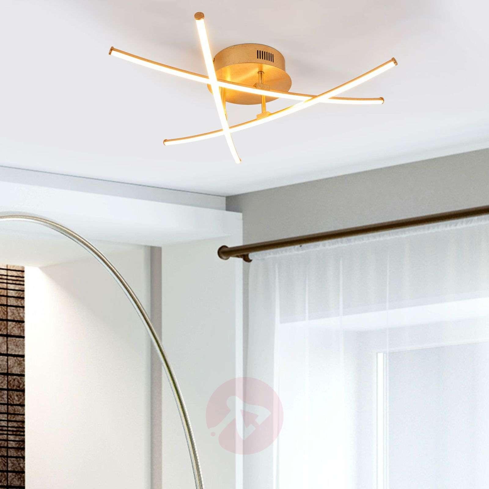 Puristic LED ceiling lamp Yael in gold, 3-bulb-9639043-02