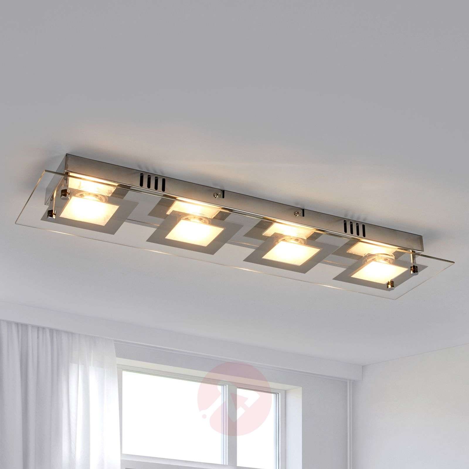 pretty nice 40d9d b9e6b Rectangular LED ceiling light Manja with chrome