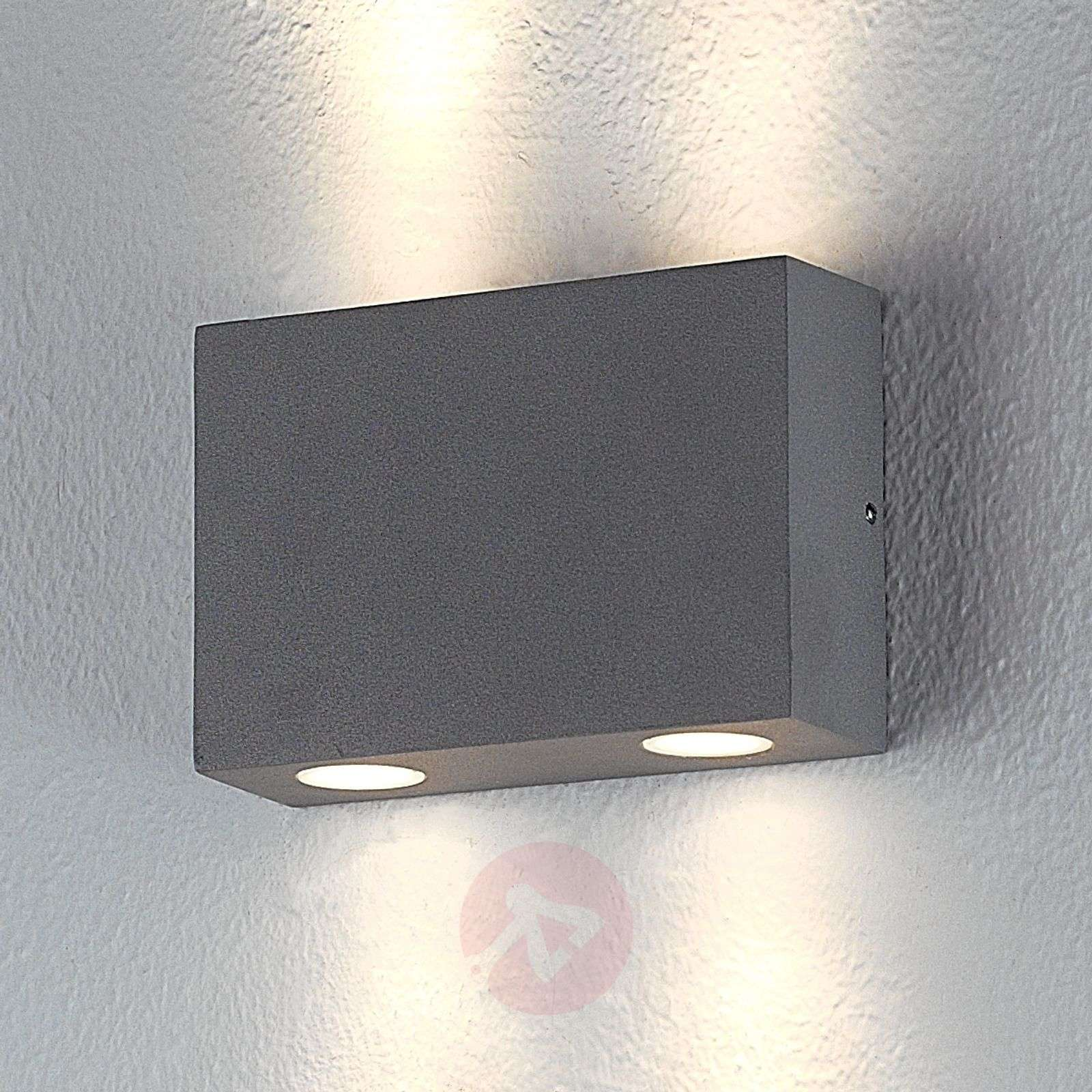 Rectangular outdoor wall light Henor with 4 LEDs-9616001-02