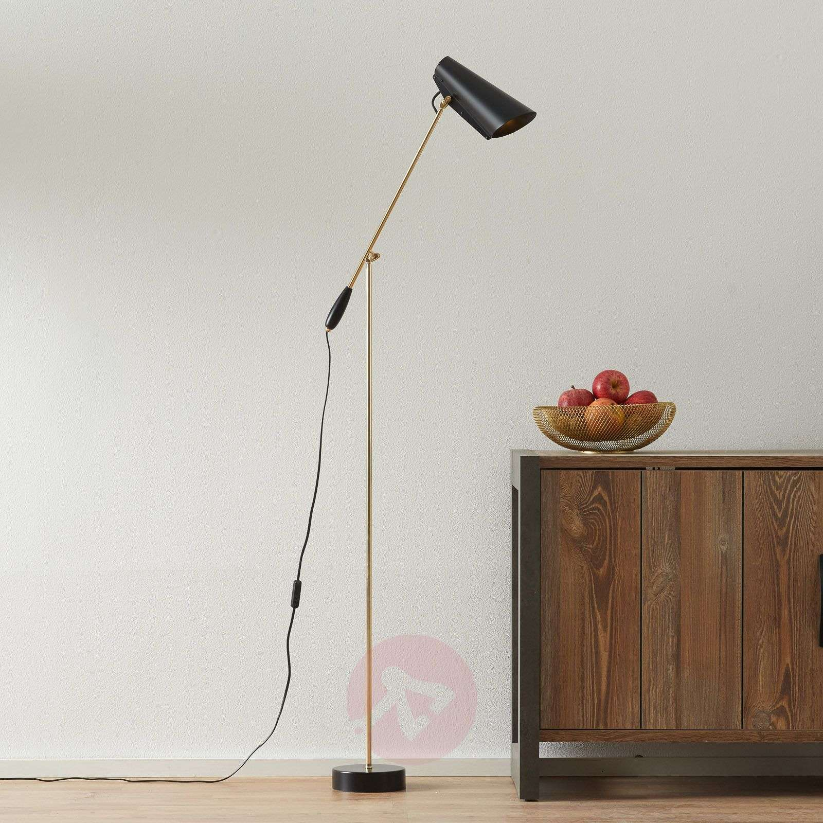 Retro floor lamp Birdy in black/brass-7013049-01