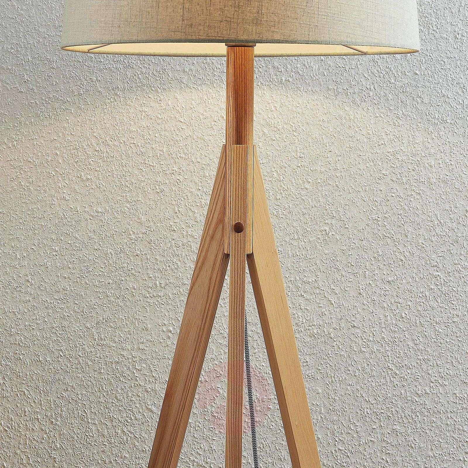 Rhysand tripod fabric floor lamp, round, grey-9624423-01
