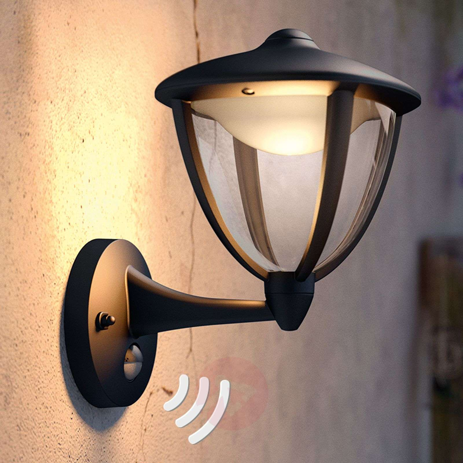 Robin outdoor wall light with sensor and LEDs-7531779-01